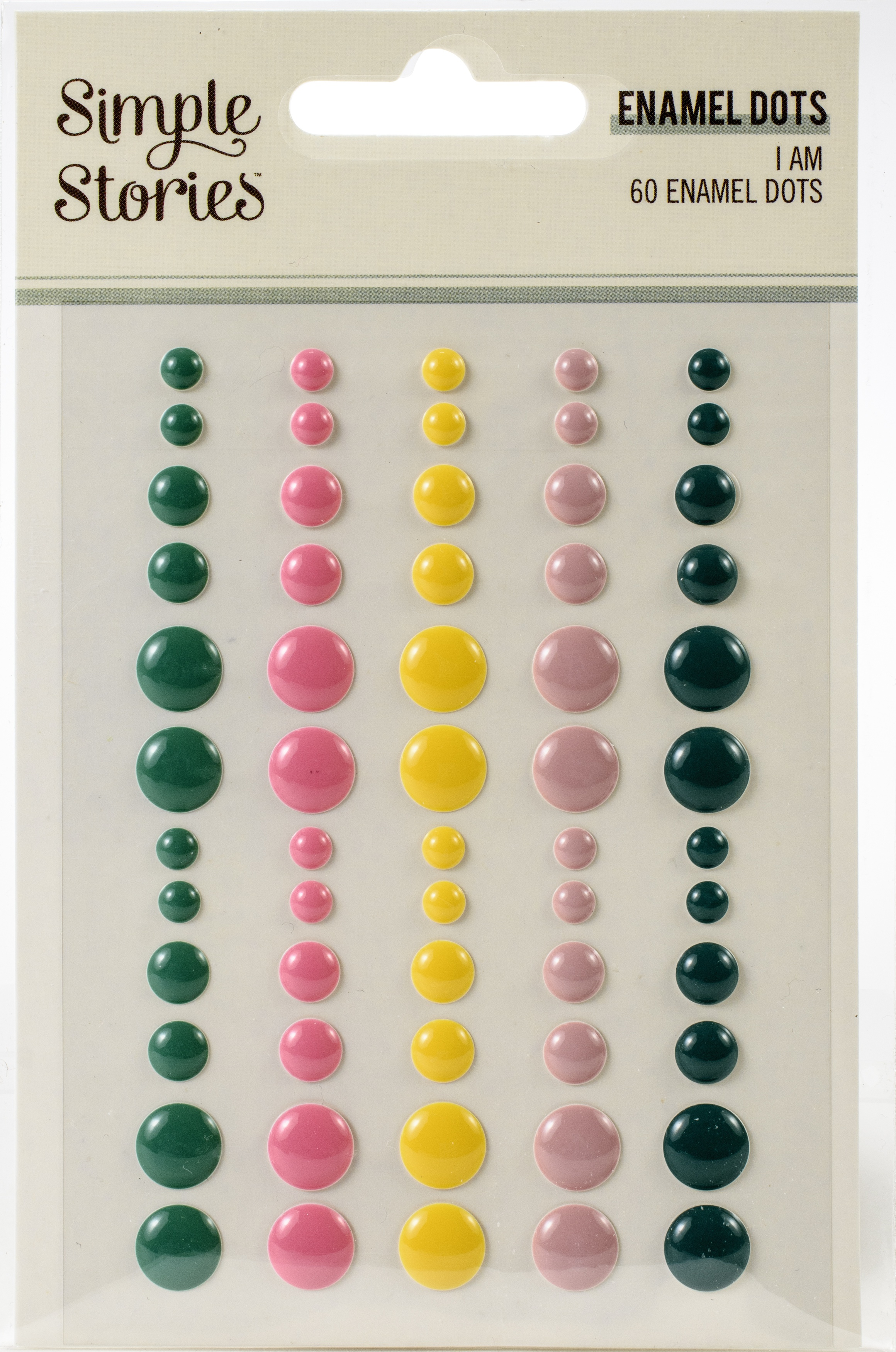 I Am Enamel Dots Embellishments 60/Pkg-