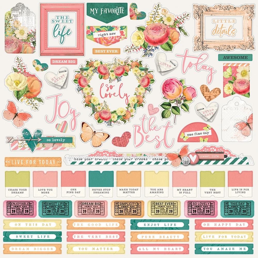 Simple Vintage Garden District Cardstock Stickers 12X12-Combo