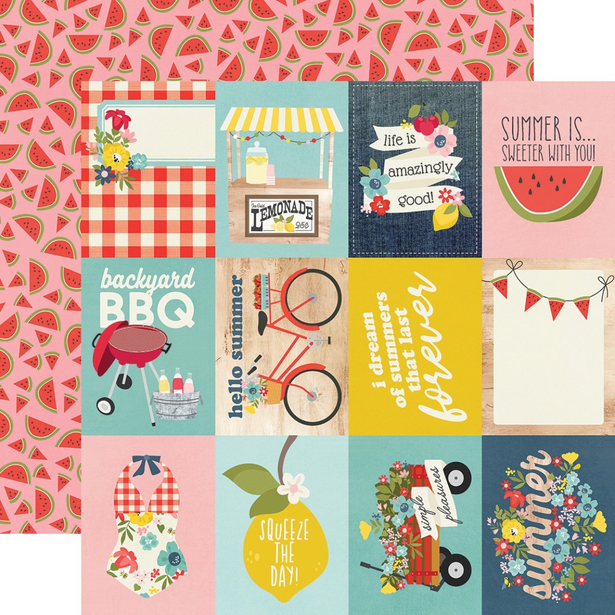 ^Simple Stories - Summer Farmhouse - 3x4 ELEMENTS - 12x12 Double-Sided Paper
