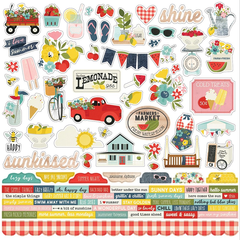 Summer Farmhouse Cardstock Stickers 12X12-Combo