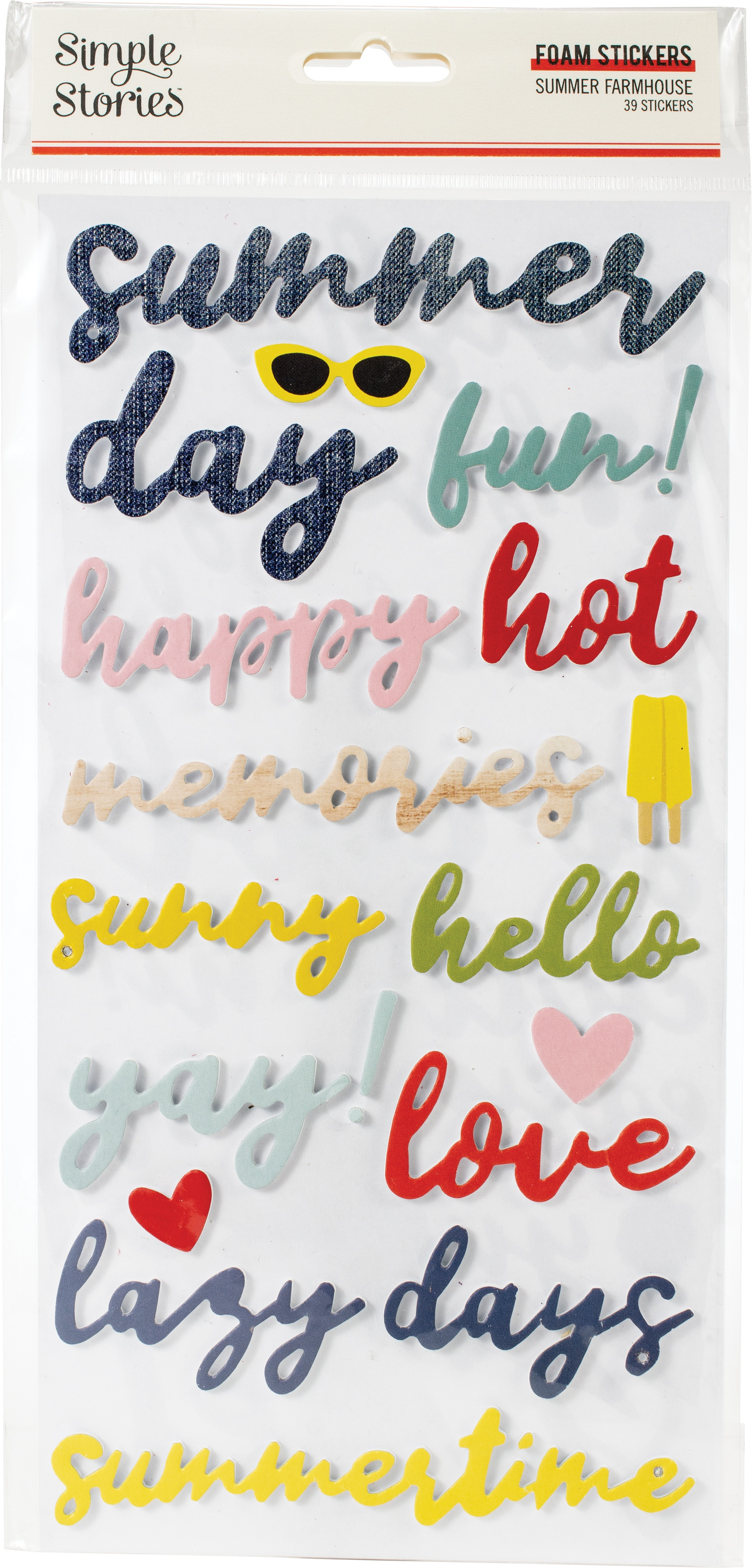 Summer Farmhouse Foam Stickers 39/Pkg-