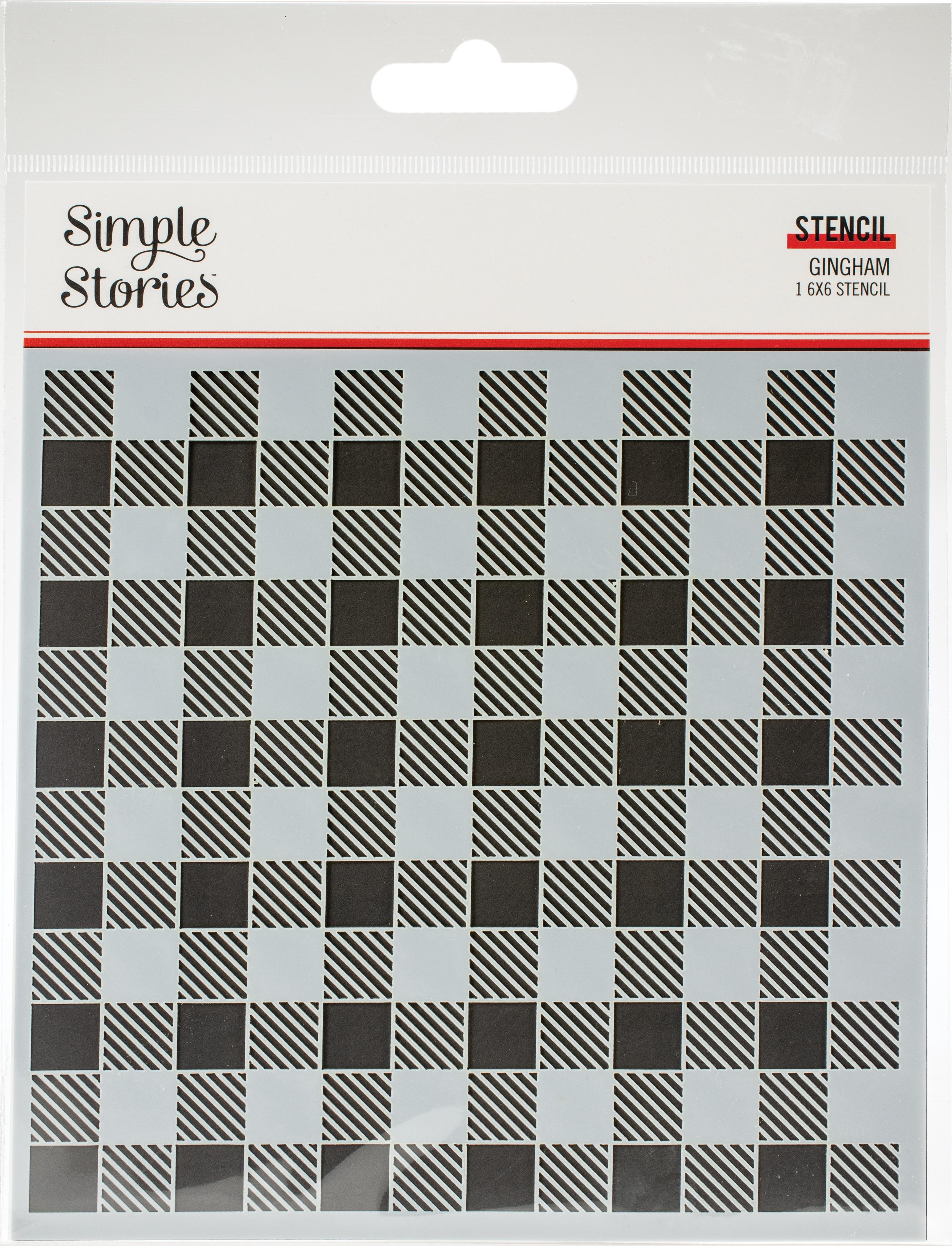 Simple Stories Summer Farmhouse Stencil 6X6-Gingham