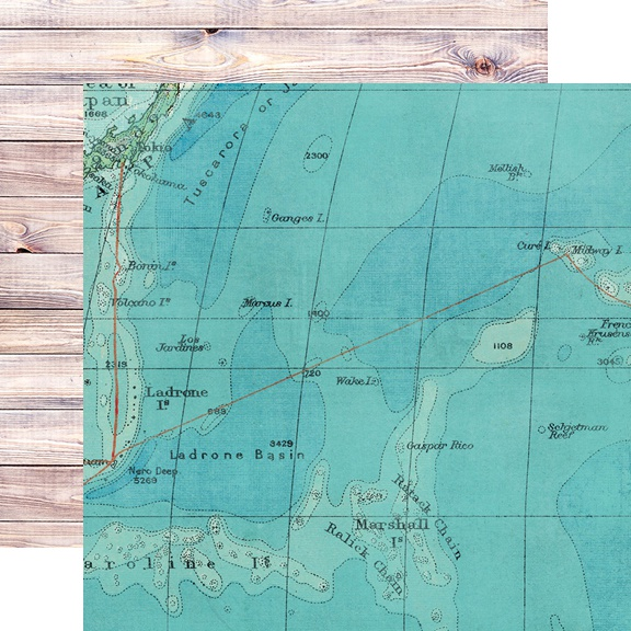 Simple Vintage Coastal Double-Sided Cardstock 12X12-On Island Time