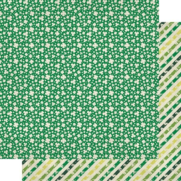 Dublin Double-Sided Cardstock 12X12-#7 Green/White Shamrocks & Clovers