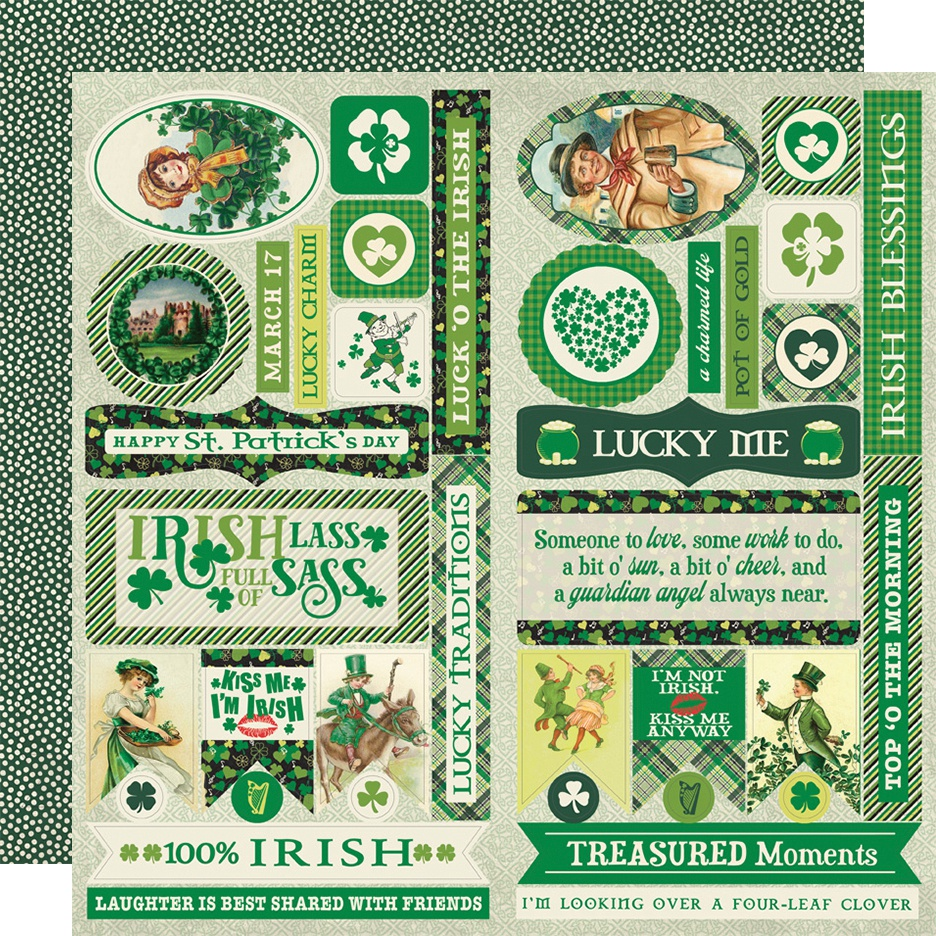 Dublin Double-Sided Cardstock Die-Cut Sheet 12X12-Elements