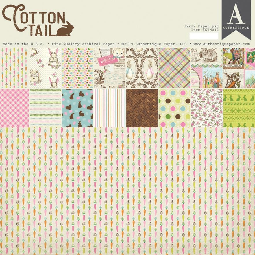 Authentique Double-Sided Cardstock Pad 12X12 18/Pkg-Cottontail, 8 Designs/2 Ea...