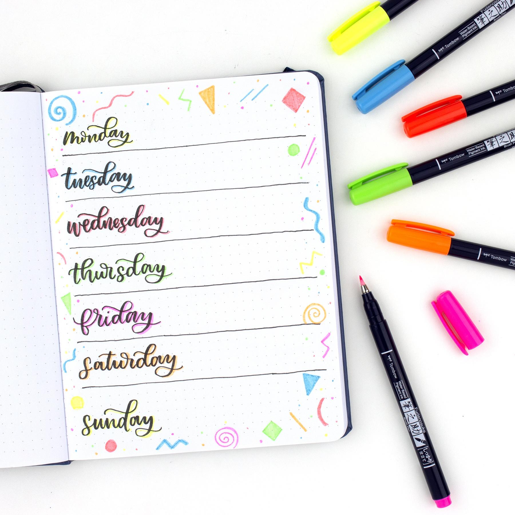 Tombow Fudenosuke Neon Brush Pens 6/Pkg-