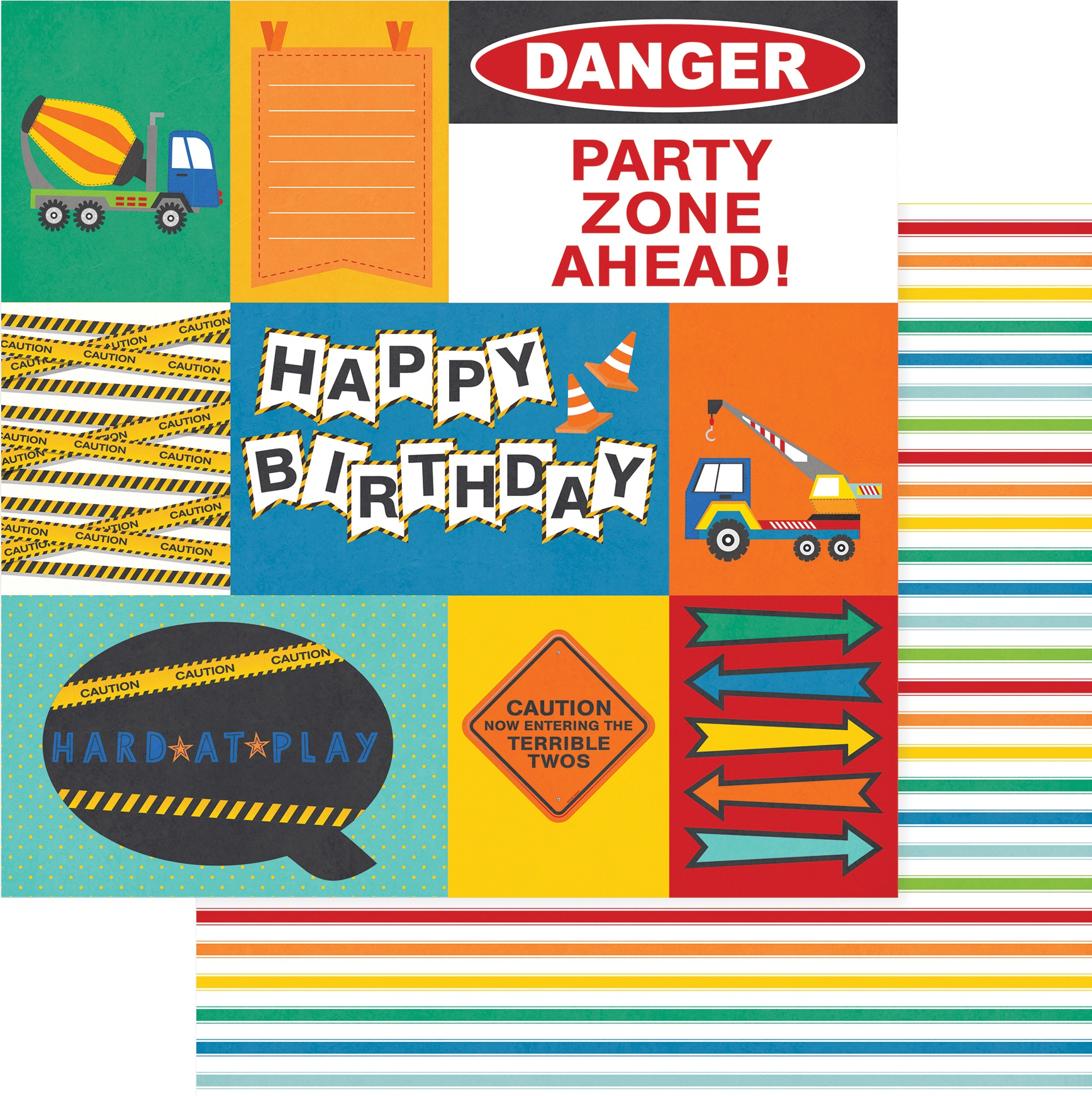 Little Builder Double-Sided Cardstock 12X12-Hard At Play