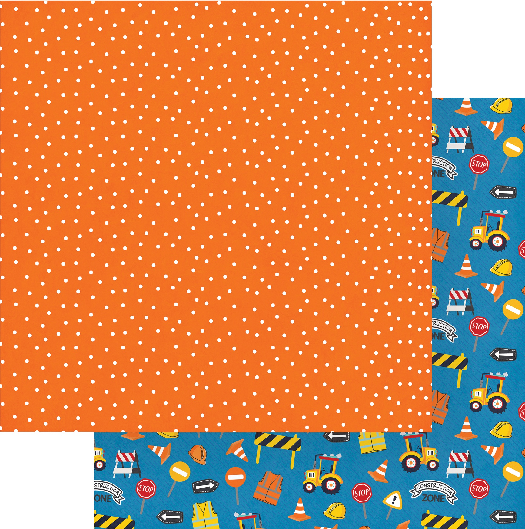 Little Builder Double-Sided Cardstock 12X12-Construction Zone