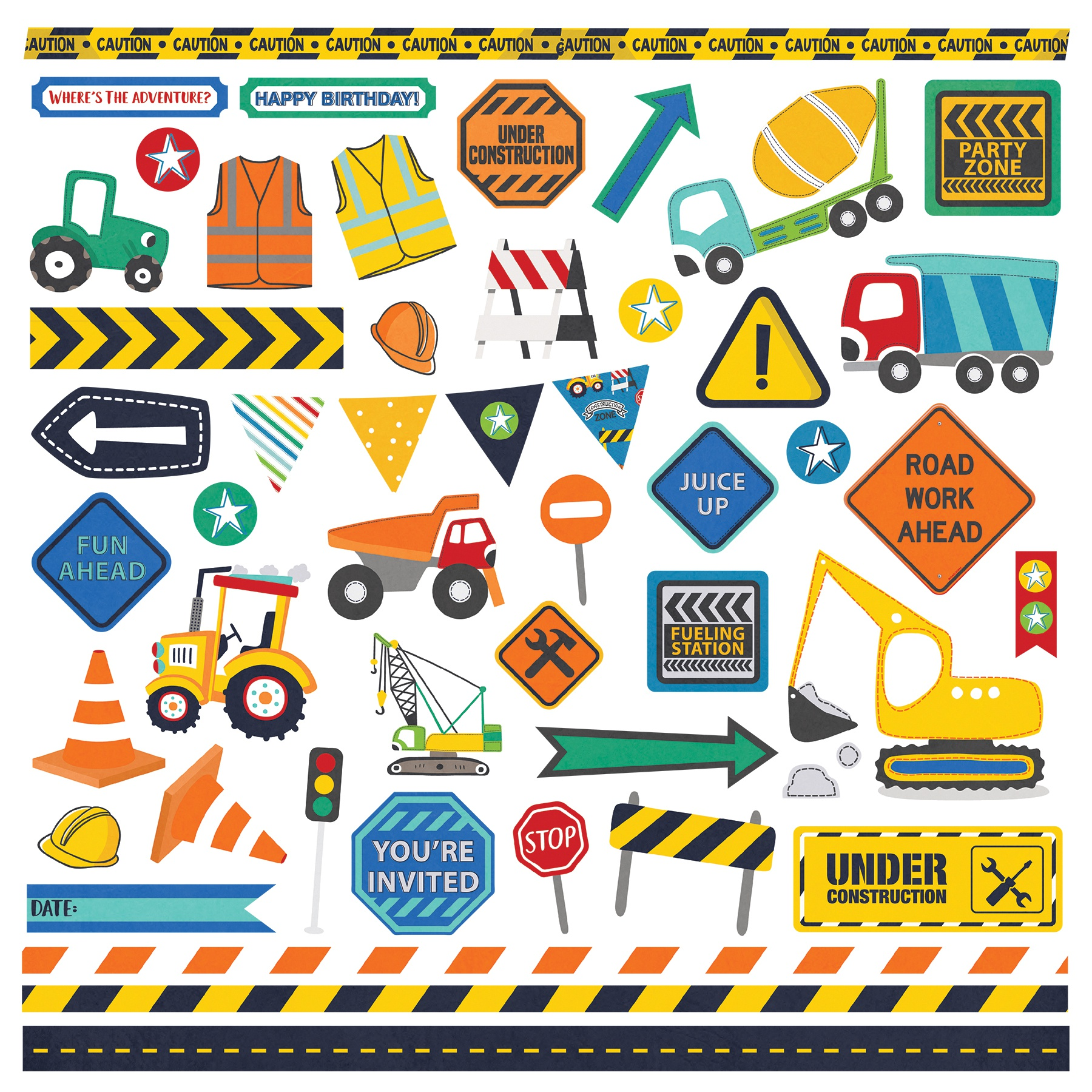Little Builder Stickers 12X12-Elements