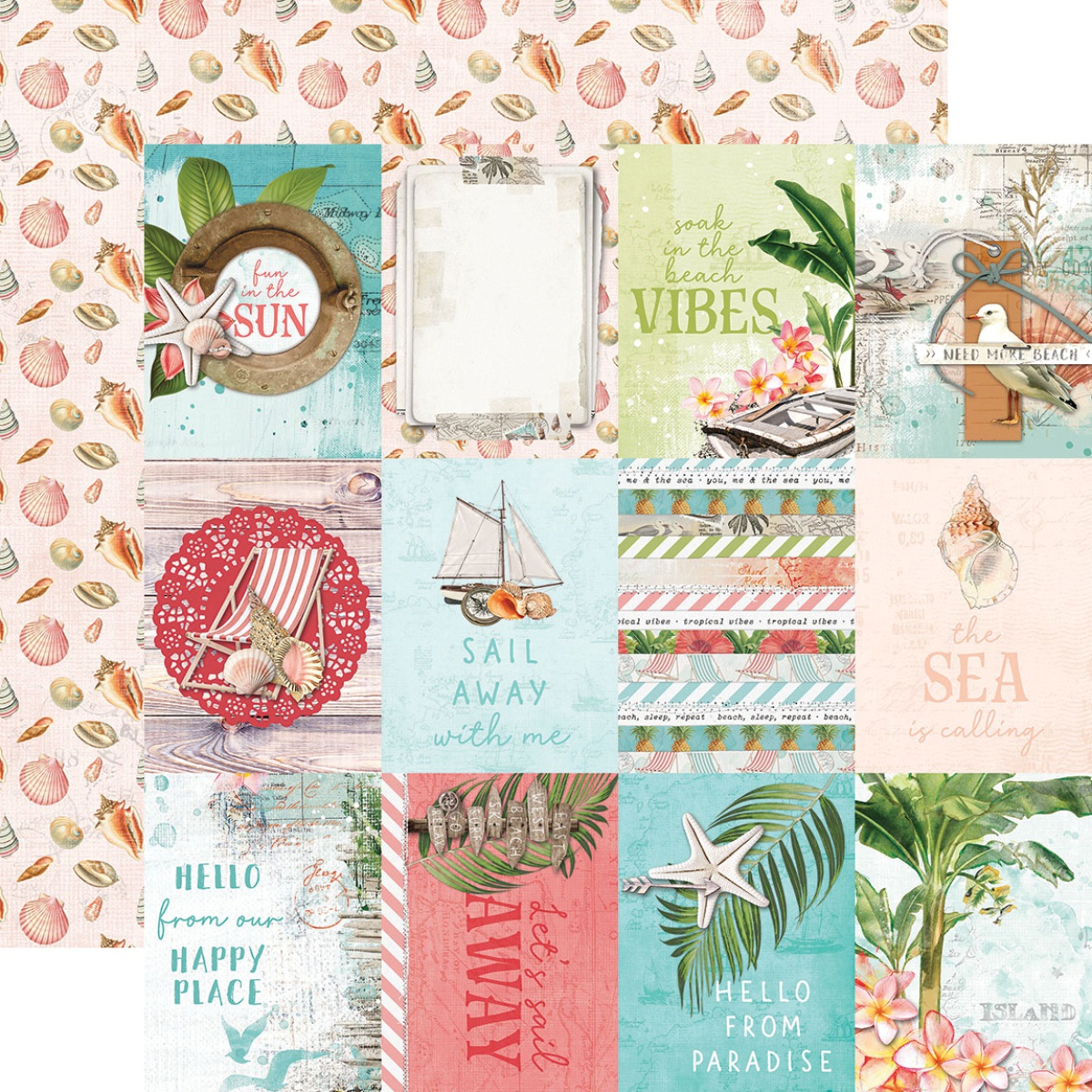 Simple Vintage Coastal Double-Sided Cardstock 12X12-3X4 Elements