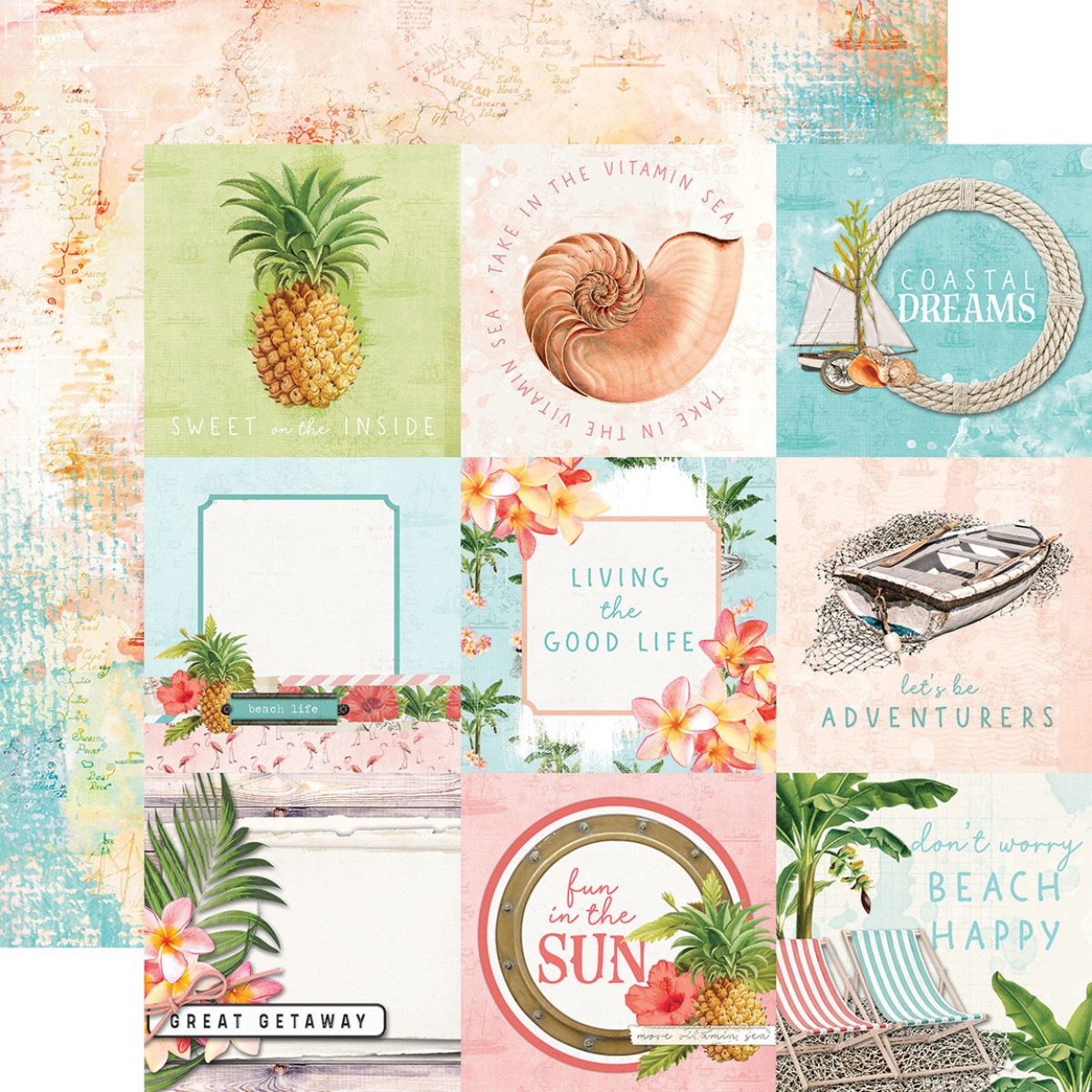 Simple Vintage Coastal Double-Sided Cardstock 12X12-4X4 Elements