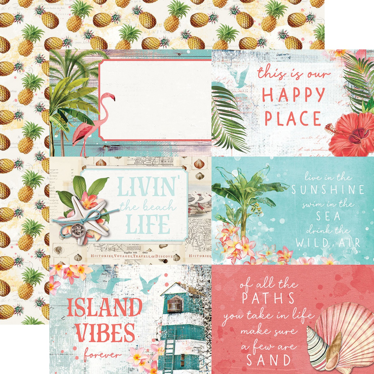 Simple Vintage Coastal Double-Sided Cardstock 12X12-4X6 Elements
