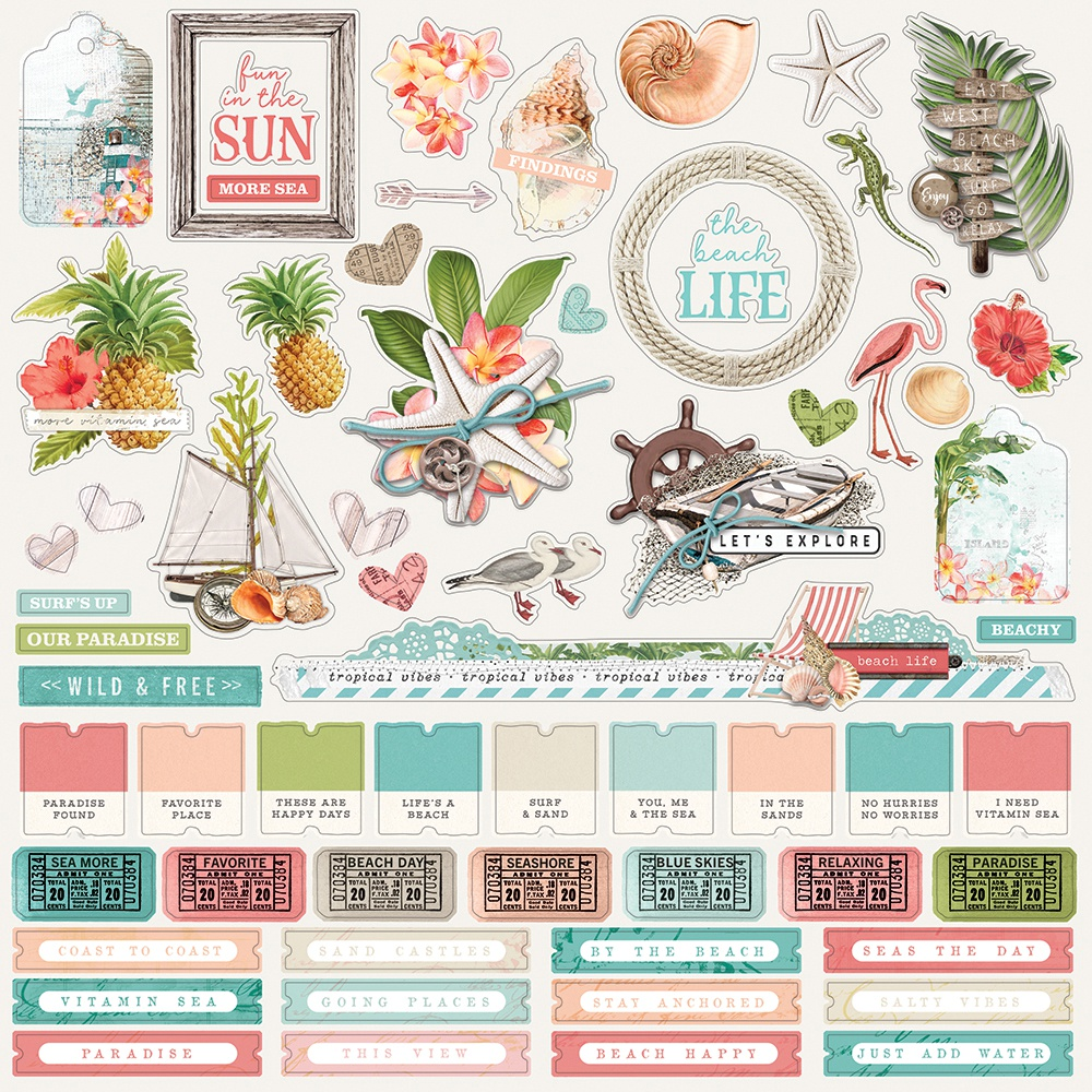 Simple Vintage Coastal Cardstock Stickers 12X12-Combo