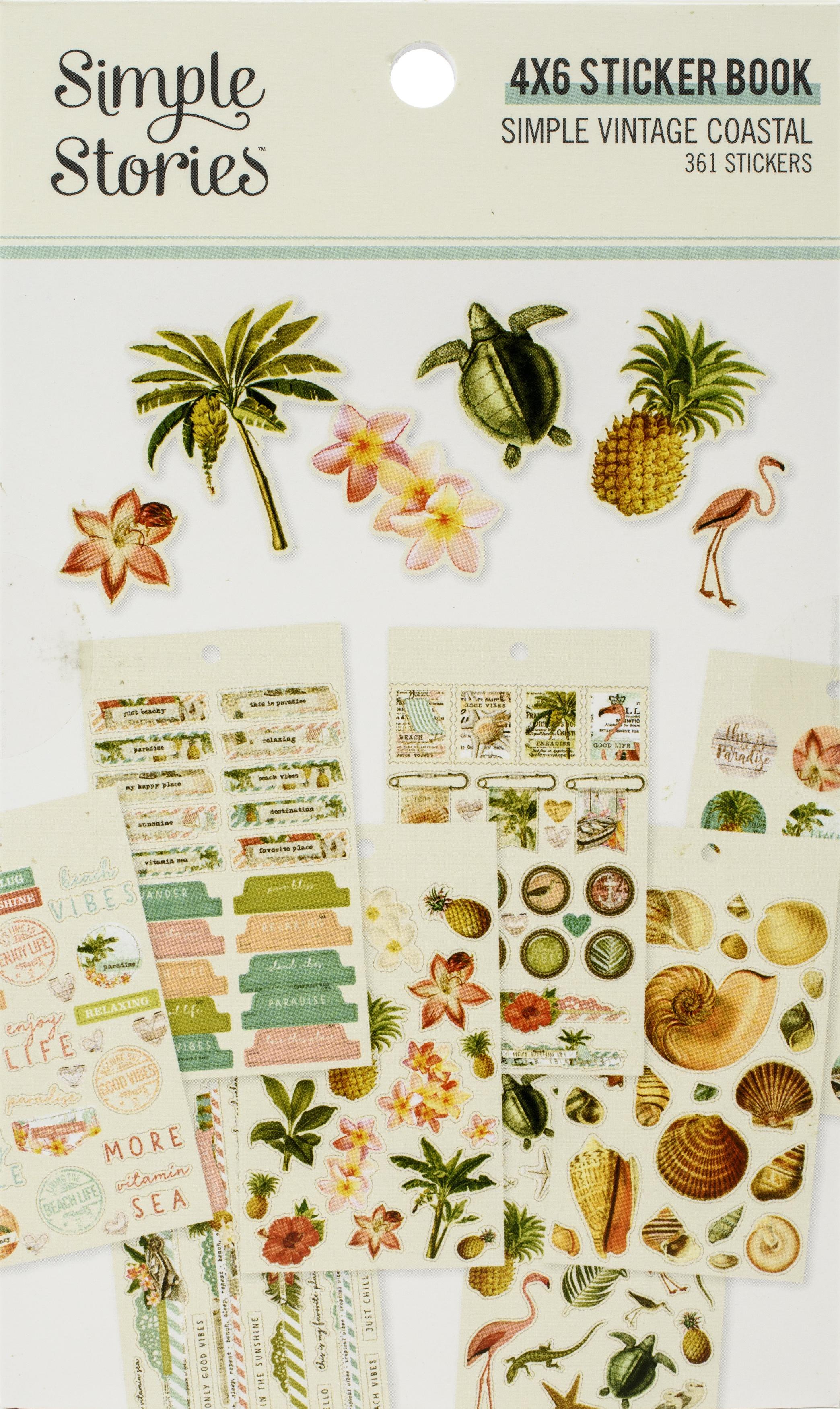 Simple Vintage Coastal Stickers 4X6 12/Pkg-