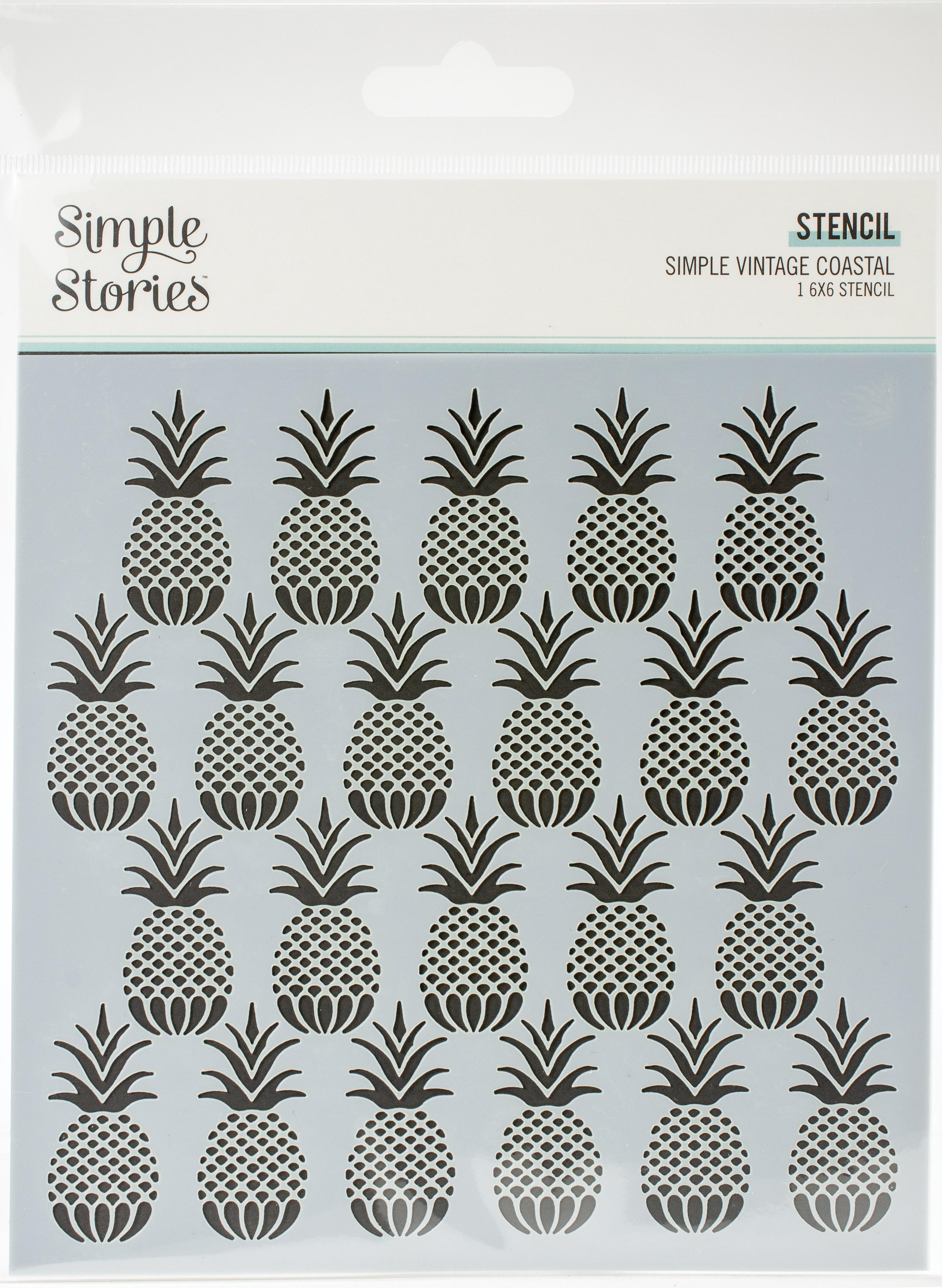 Simple Vintage Coastal Stencil 6X6-Pineapples