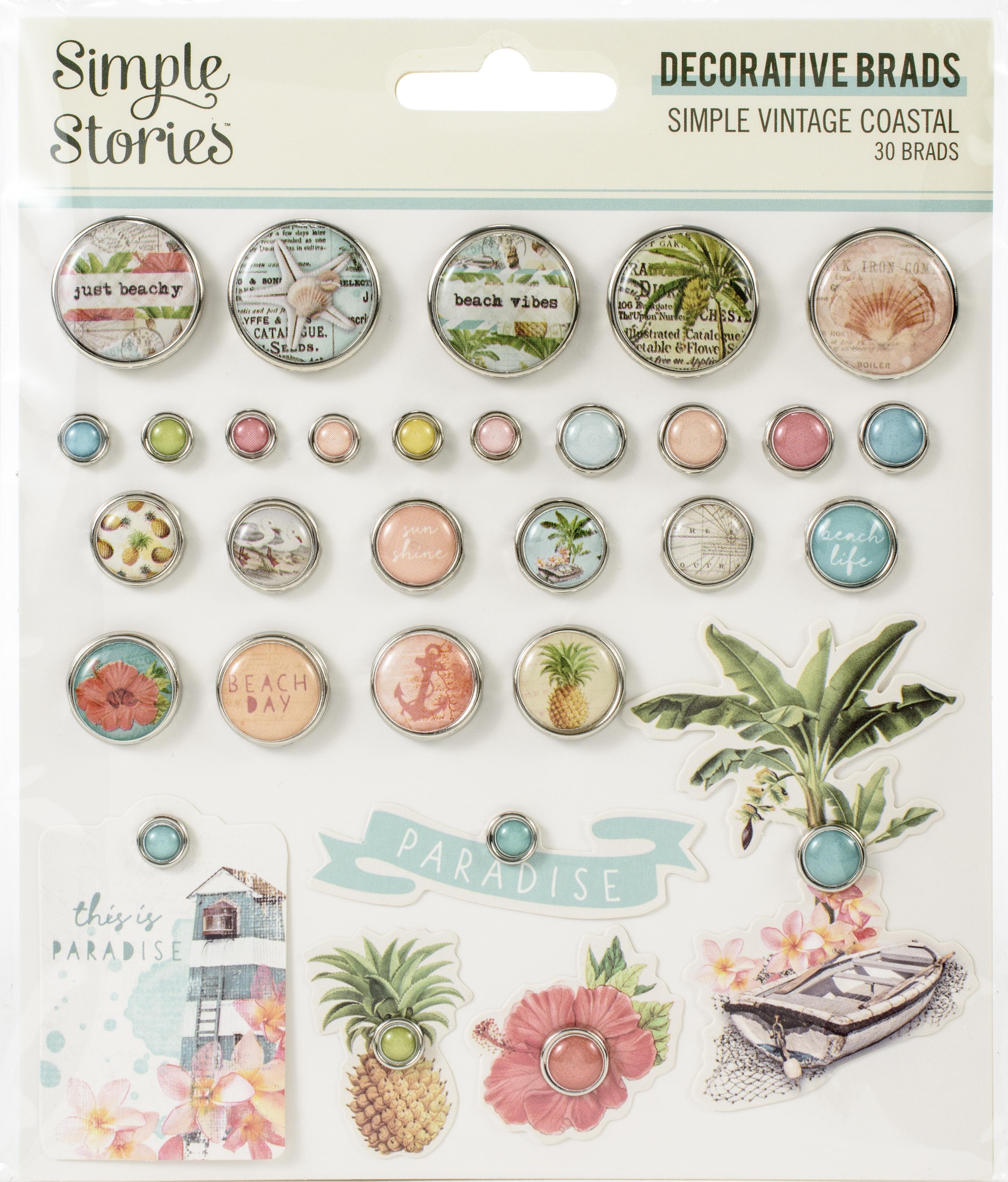 Simple Vintage Coastal Decorative Brads 30/Pkg-