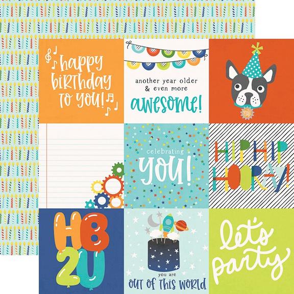 Birthday Blast Double-Sided Cardstock 12X12-4X4 Elements