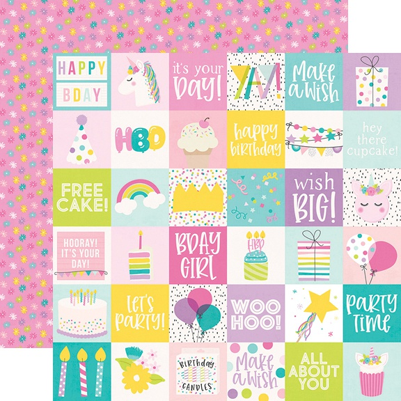 Magical Birthday Double-Sided Cardstock 12X12-2X2 Elements