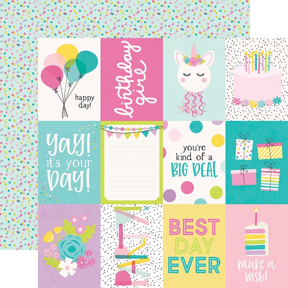 Magical Birthday Double-Sided Cardstock 12X12-3X4 Elements