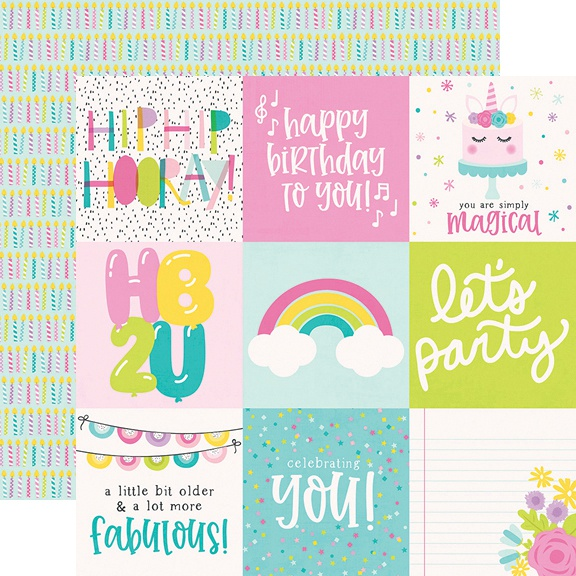 Magical Birthday Double-Sided Cardstock 12X12-4X4 Elements