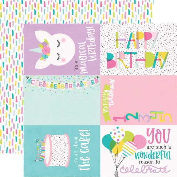 Magical Birthday Double-Sided Cardstock 12X12-4X6 Elements