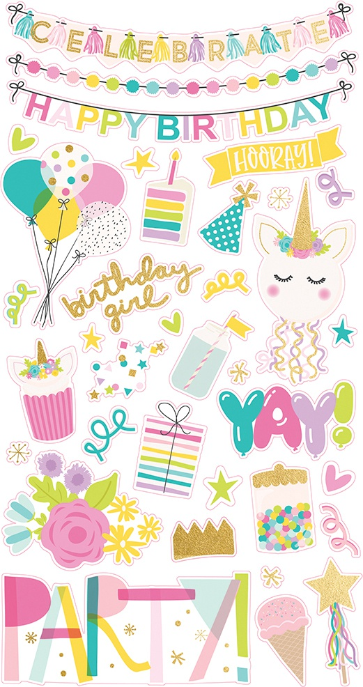 Magical Birthday Chipboard Stickers 6X12-