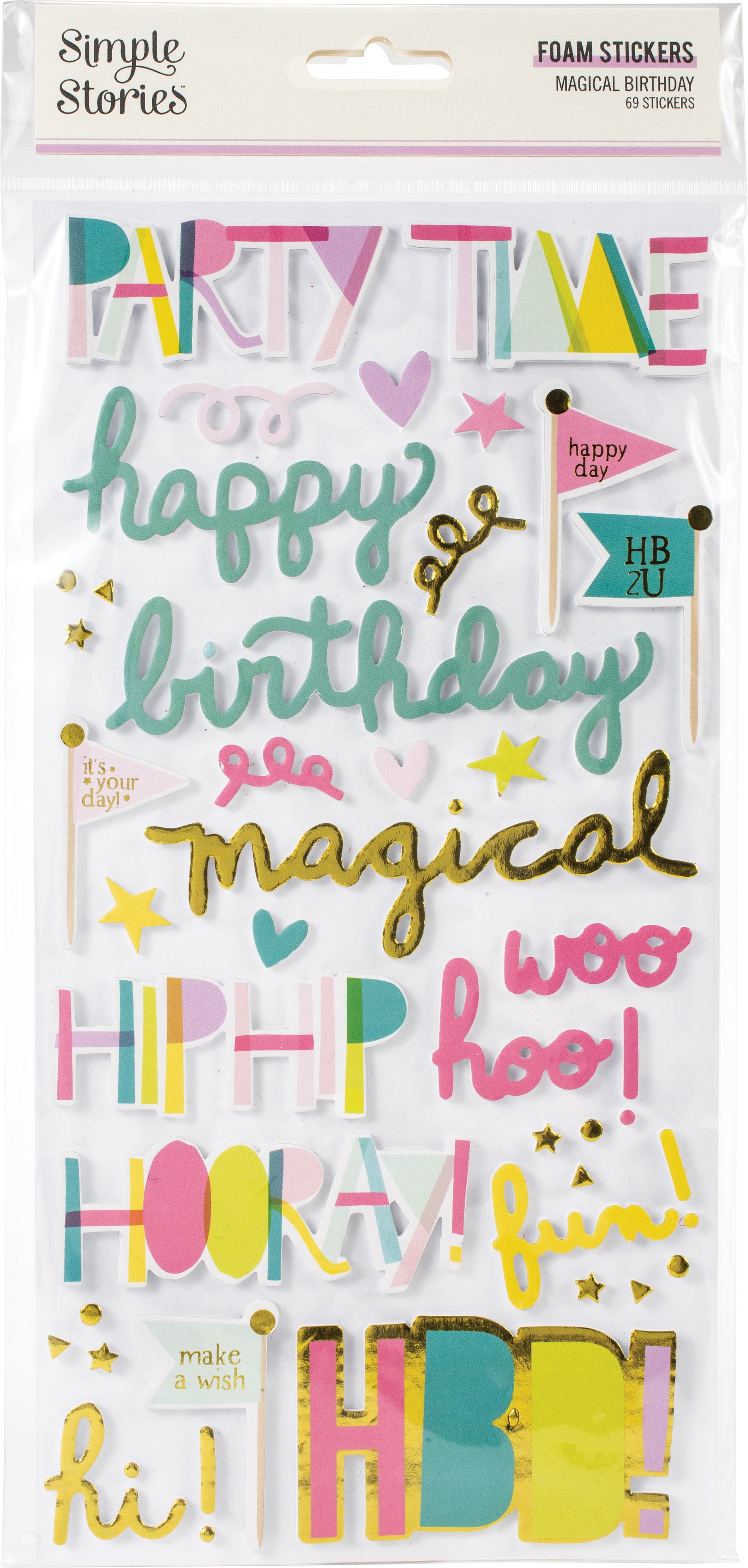 Magical Birthday Foam Stickers 69/Pkg-