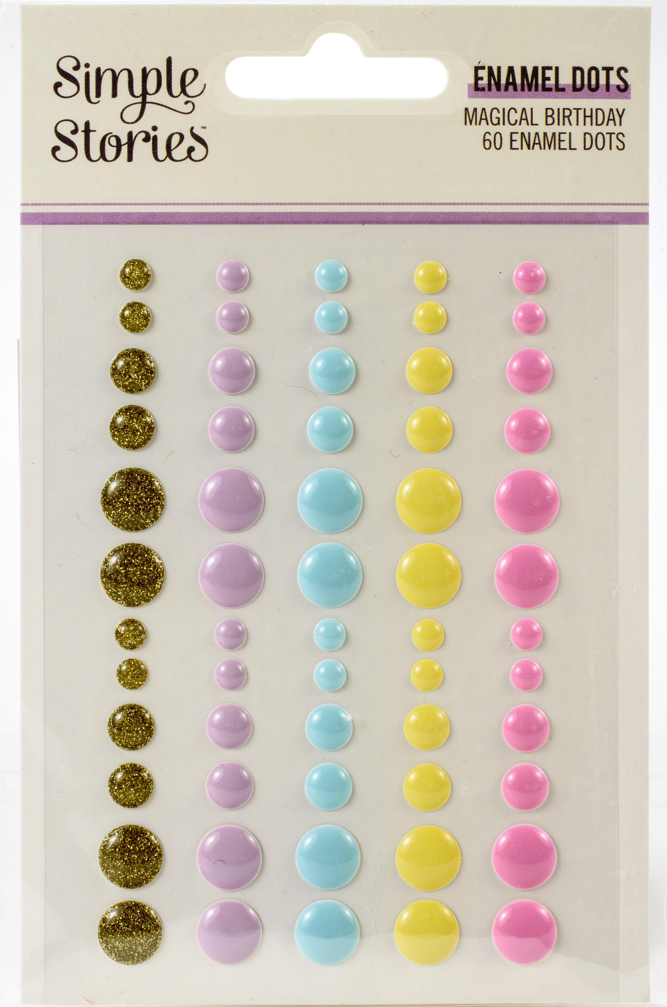 Magical Birthday Enamel Dots Embellishments 60/Pkg-