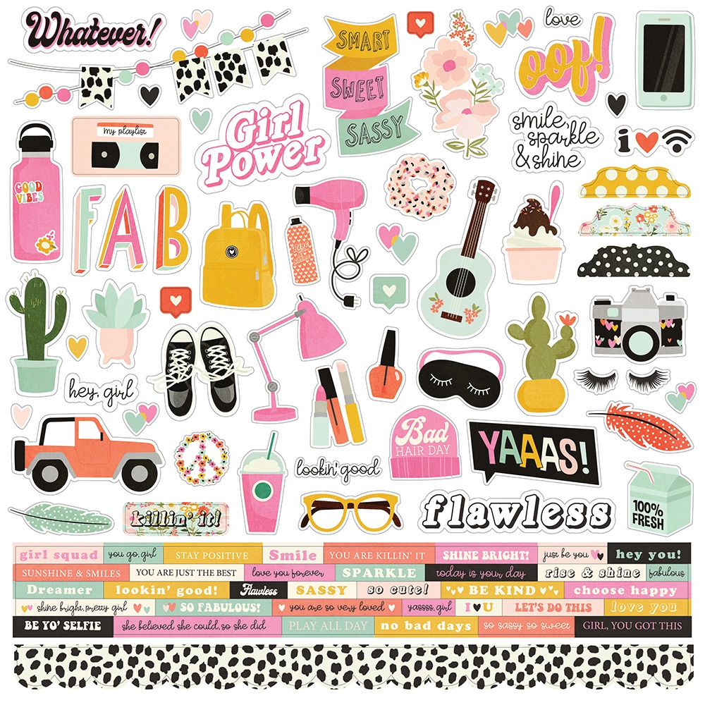 Kate & Ash Cardstock Stickers 12X12-Combo