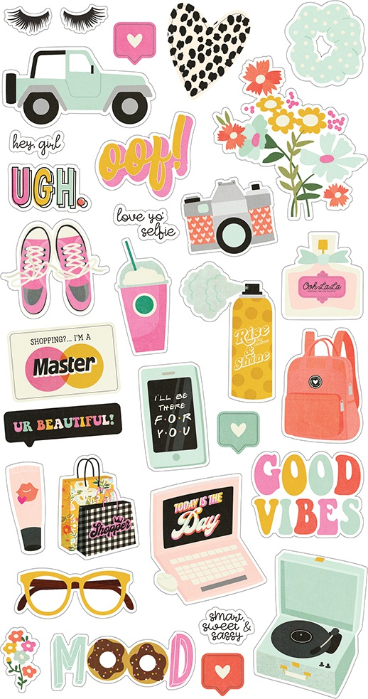 Kate & Ash Chipboard Stickers 6X12-