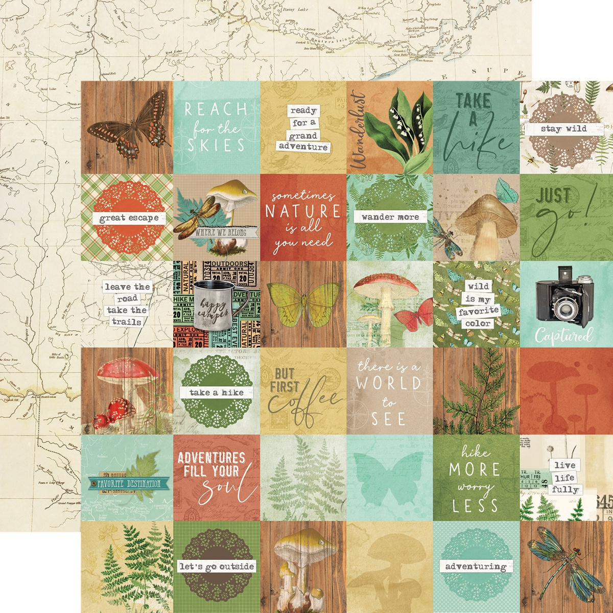 Simple Vintage Great Escape Double-Sided Cardstock 12X12-2X2 Elements