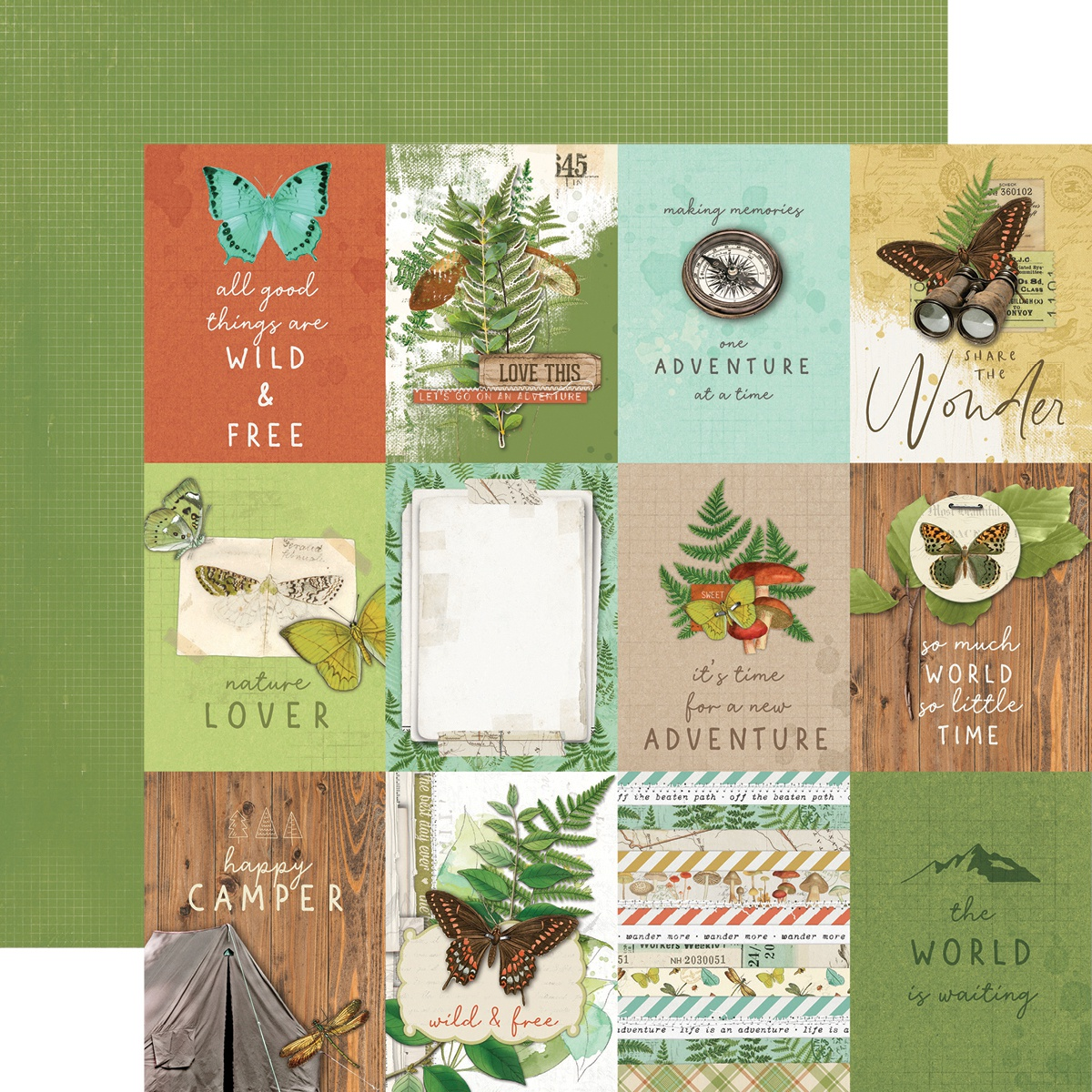 Simple Vintage Great Escape Double-Sided Cardstock 12X12-3X4 Elements