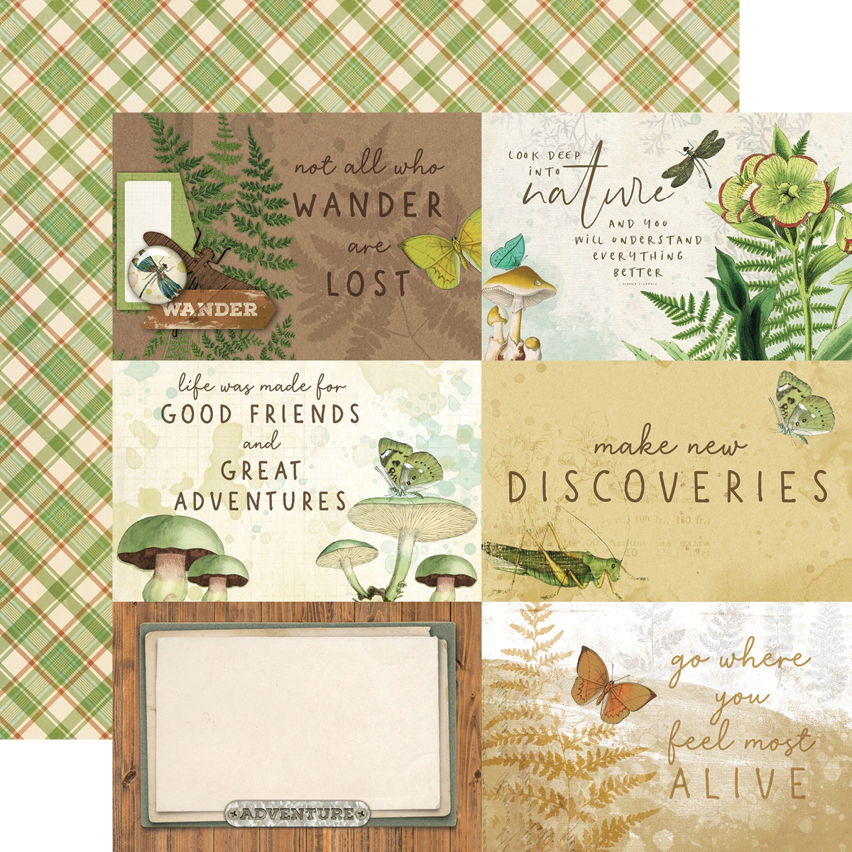 Simple Vintage Great Escape Double-Sided Cardstock 12X12-4X6 Elements