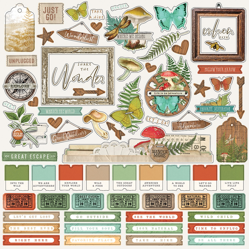 Simple Vintage Great Escape Cardstock Stickers 12X12-Combo