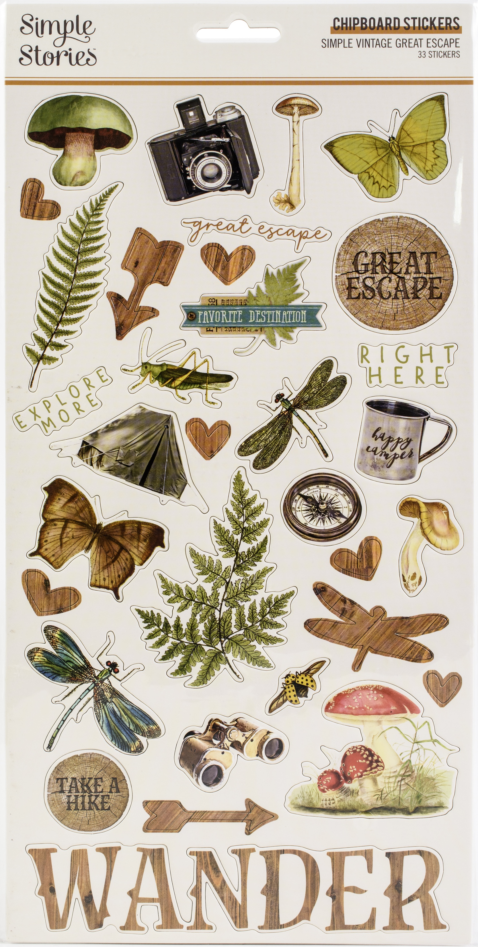 Simple Vintage Great Escape Chipboard Stickers 6X12-