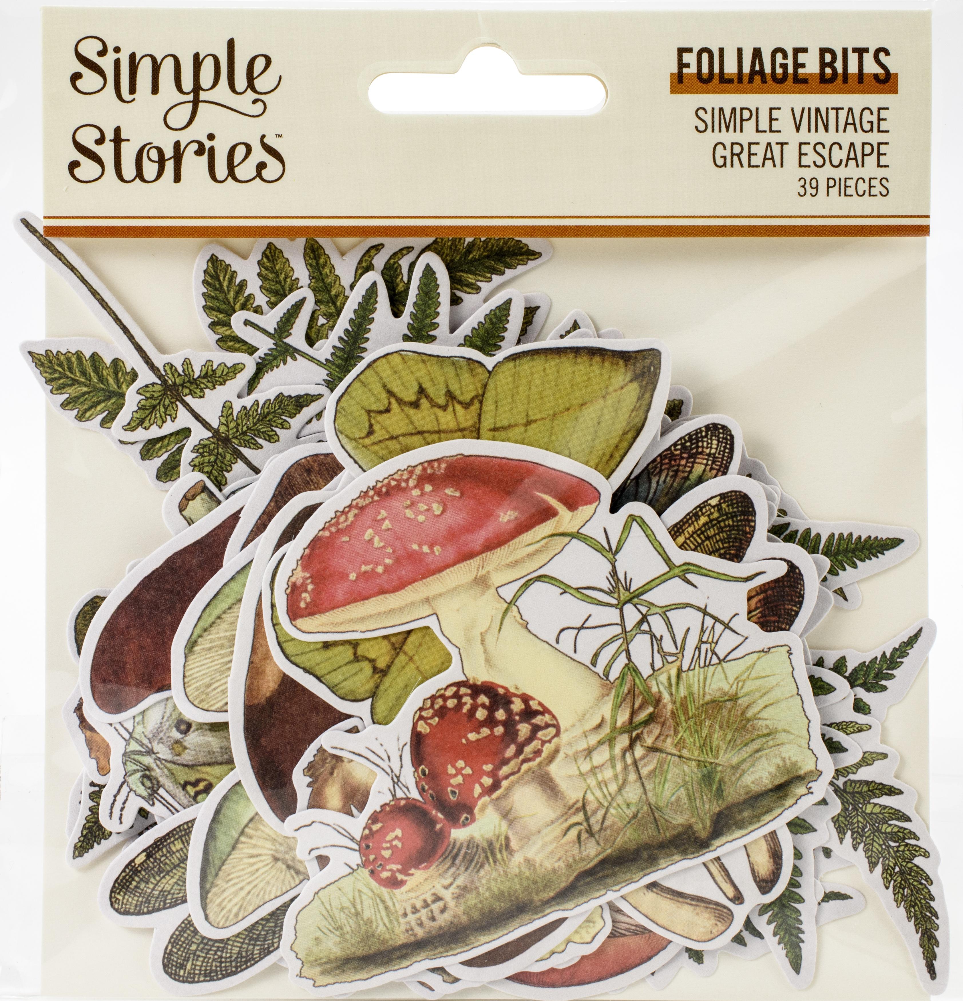 Simple Vintage Great Escape Bits & Pieces Die-Cuts 39/Pkg-Foliage