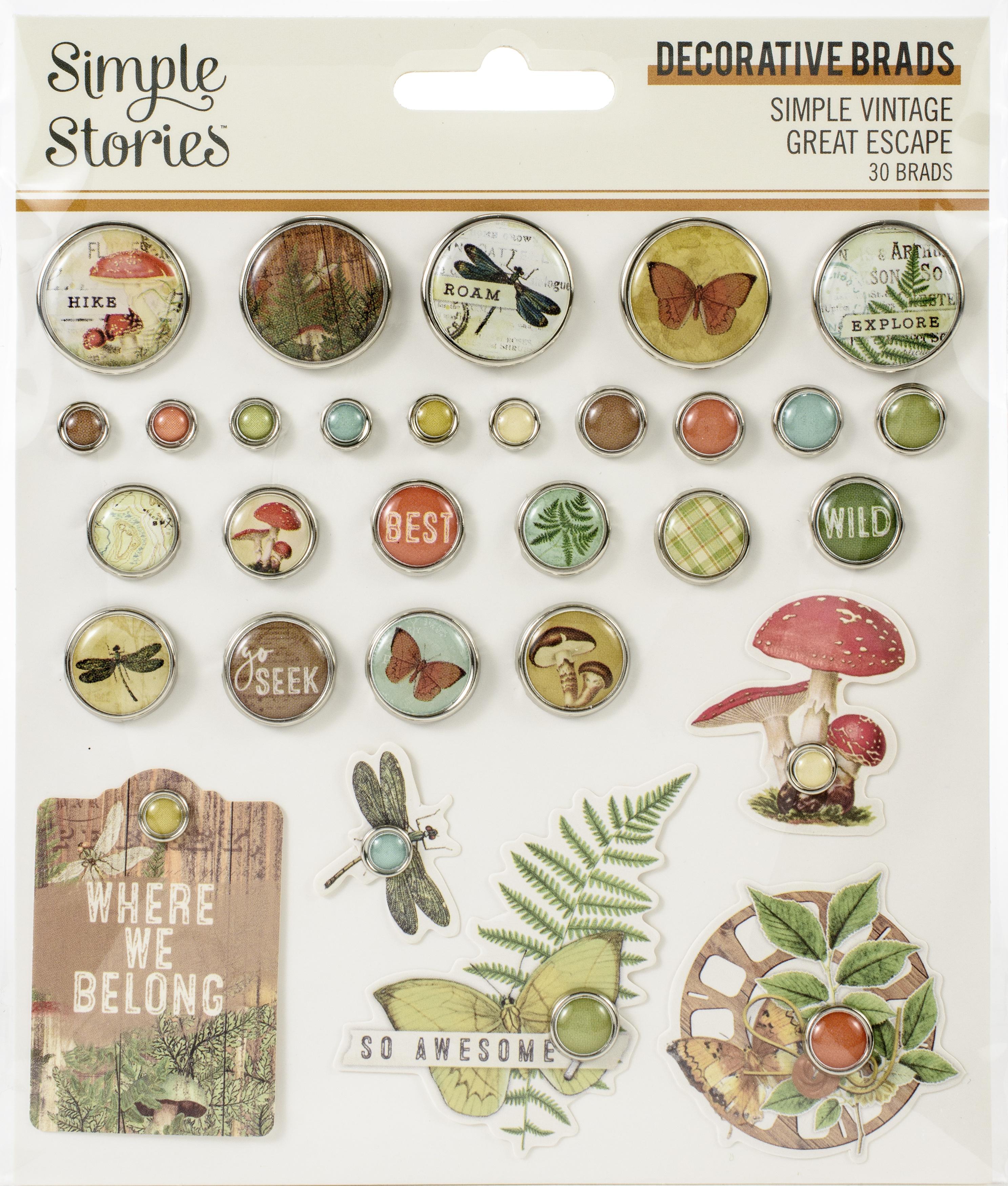 Simple Vintage Great Escape Decorative Brads 30/Pkg-