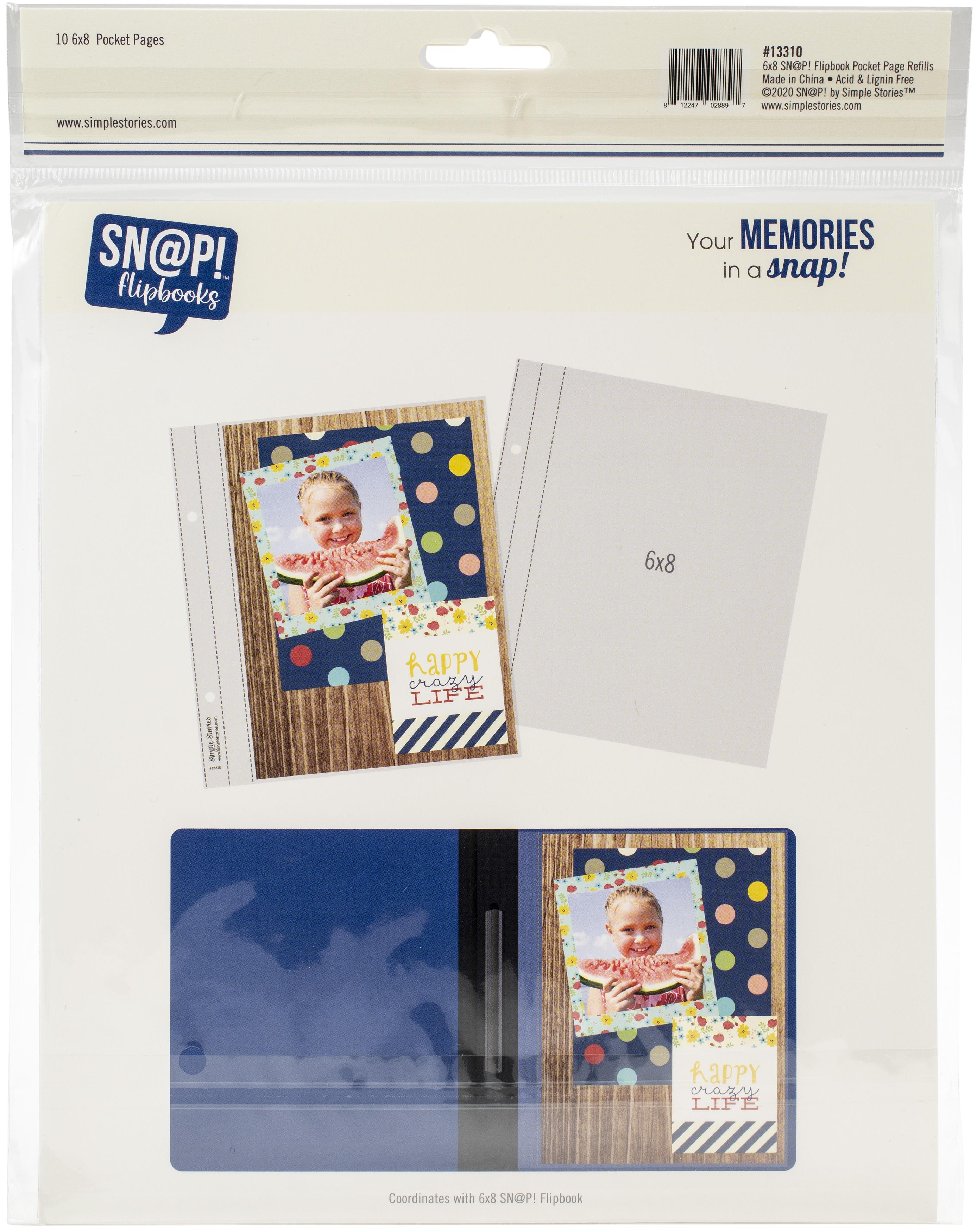 Simple Stories Sn@p! Pocket Pages For 6X8 Flipbooks 10/Pkg-(1) 6X8 Pocket
