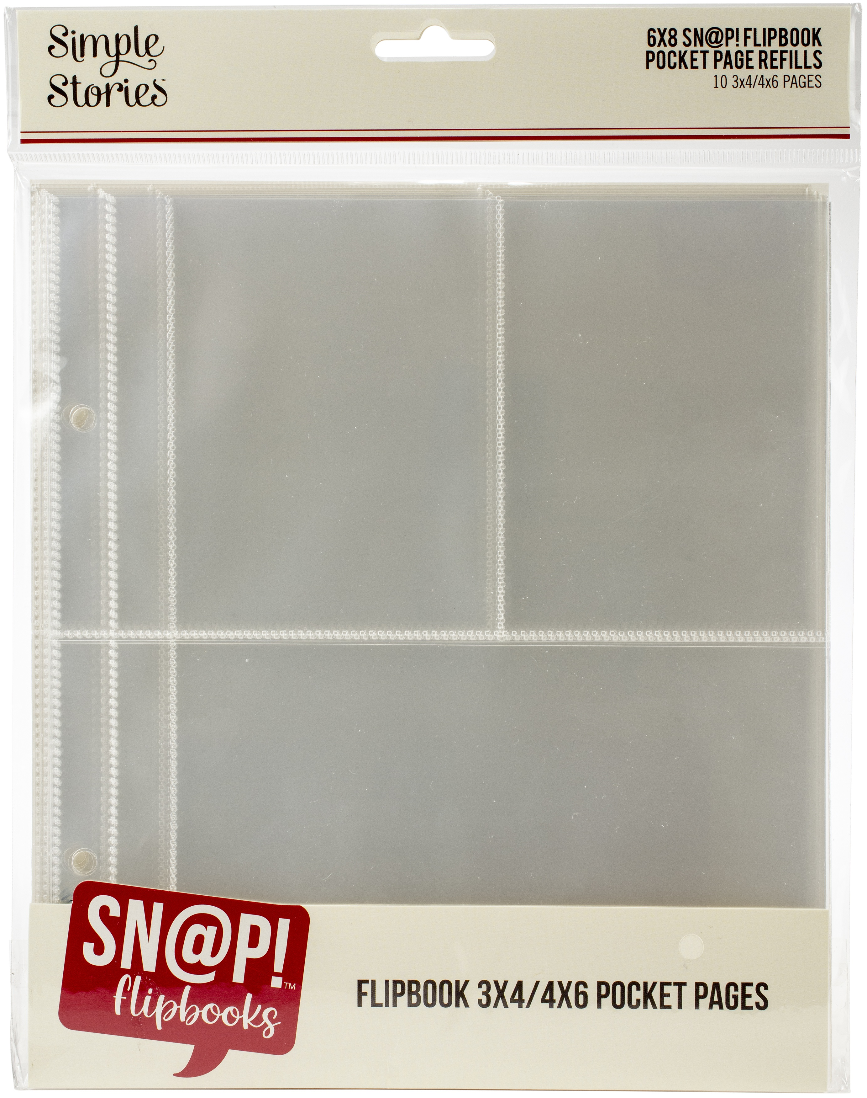Simple Stories Sn@p! Pocket Pages For 6X8 Flipbooks 10/Pkg-(1) 4X6 & (2) 3X...
