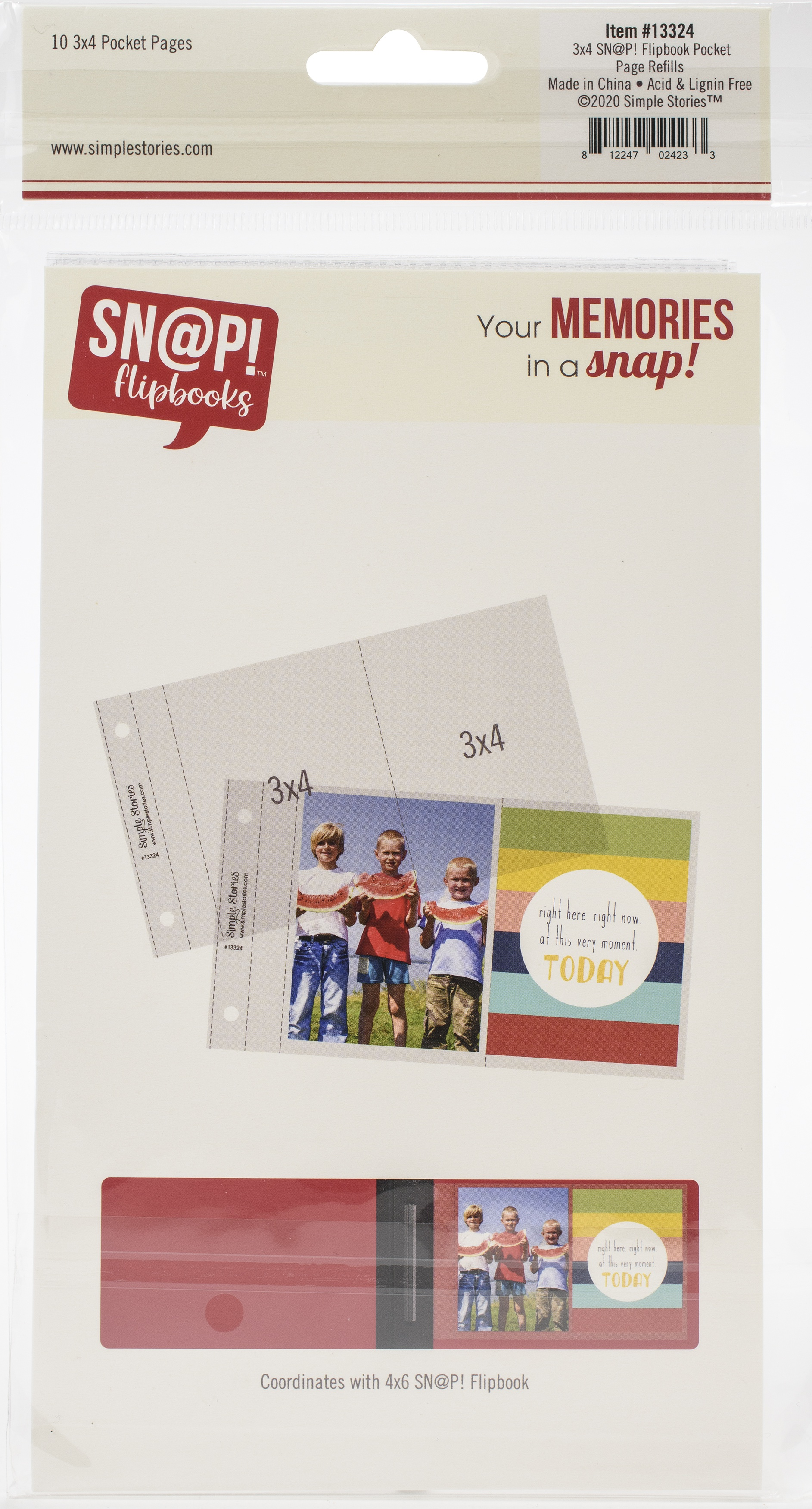 Simple Stories Sn@p! Pocket Pages For 4X6 Flipbooks 10/Pkg-(2) 3X4 Pockets