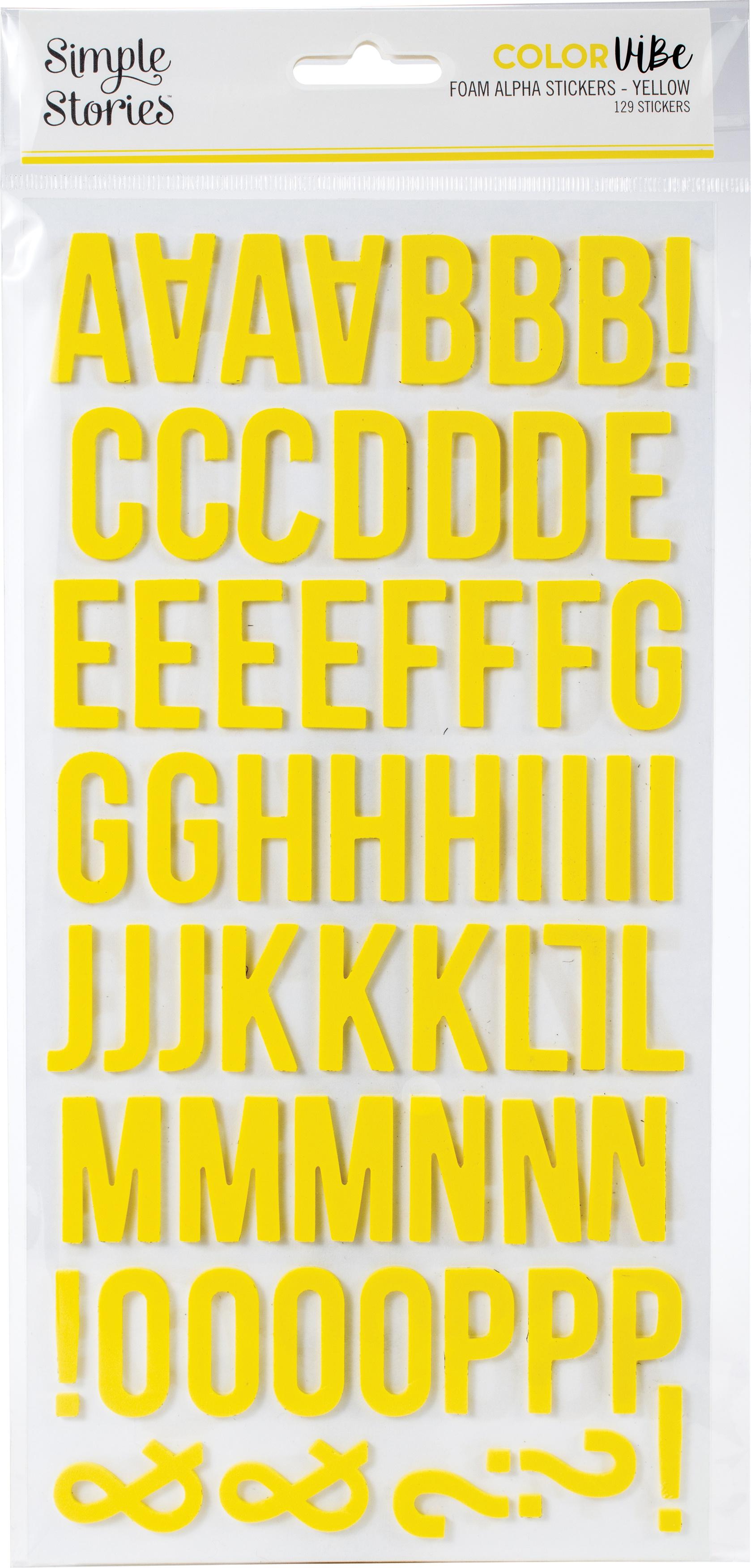 Simple Stories Color Vibe Foam Alpha Stickers 6X12 129/Pkg-Yellow
