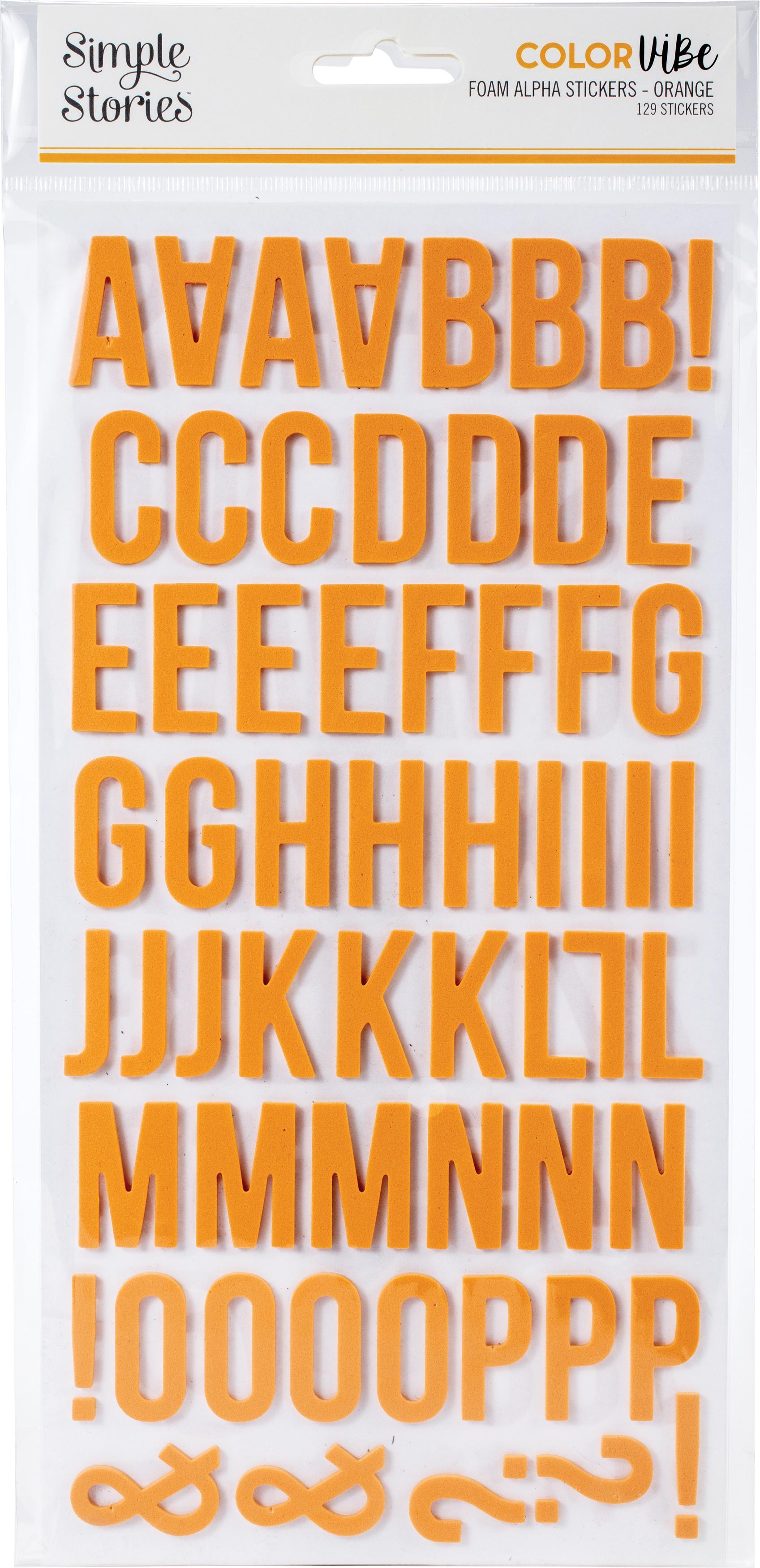 Simple Stories Color Vibe Foam Alpha Stickers 6X12 129/Pkg-Orange