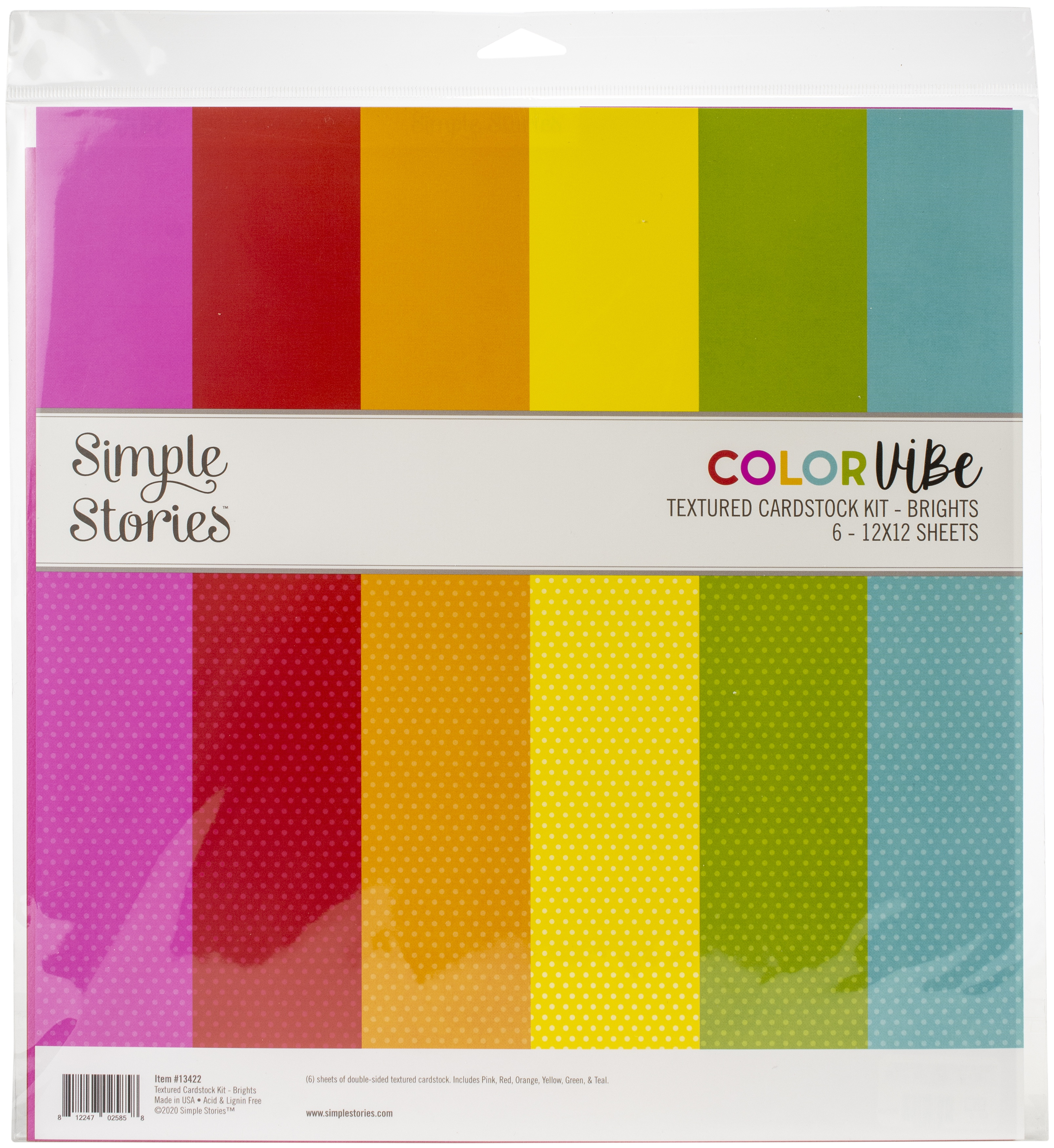 Simple Stories Color Vibe Double-Sided Paper Pack 6/Pkg-Brights