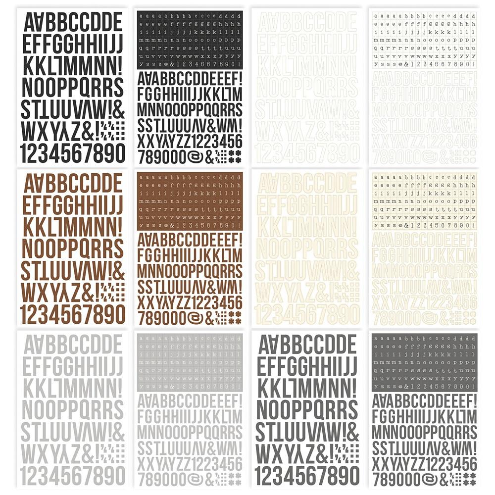 Simple Stories Color Vibe Alpha Sticker Book 12/Sheets-Basics, 1758/Pkg