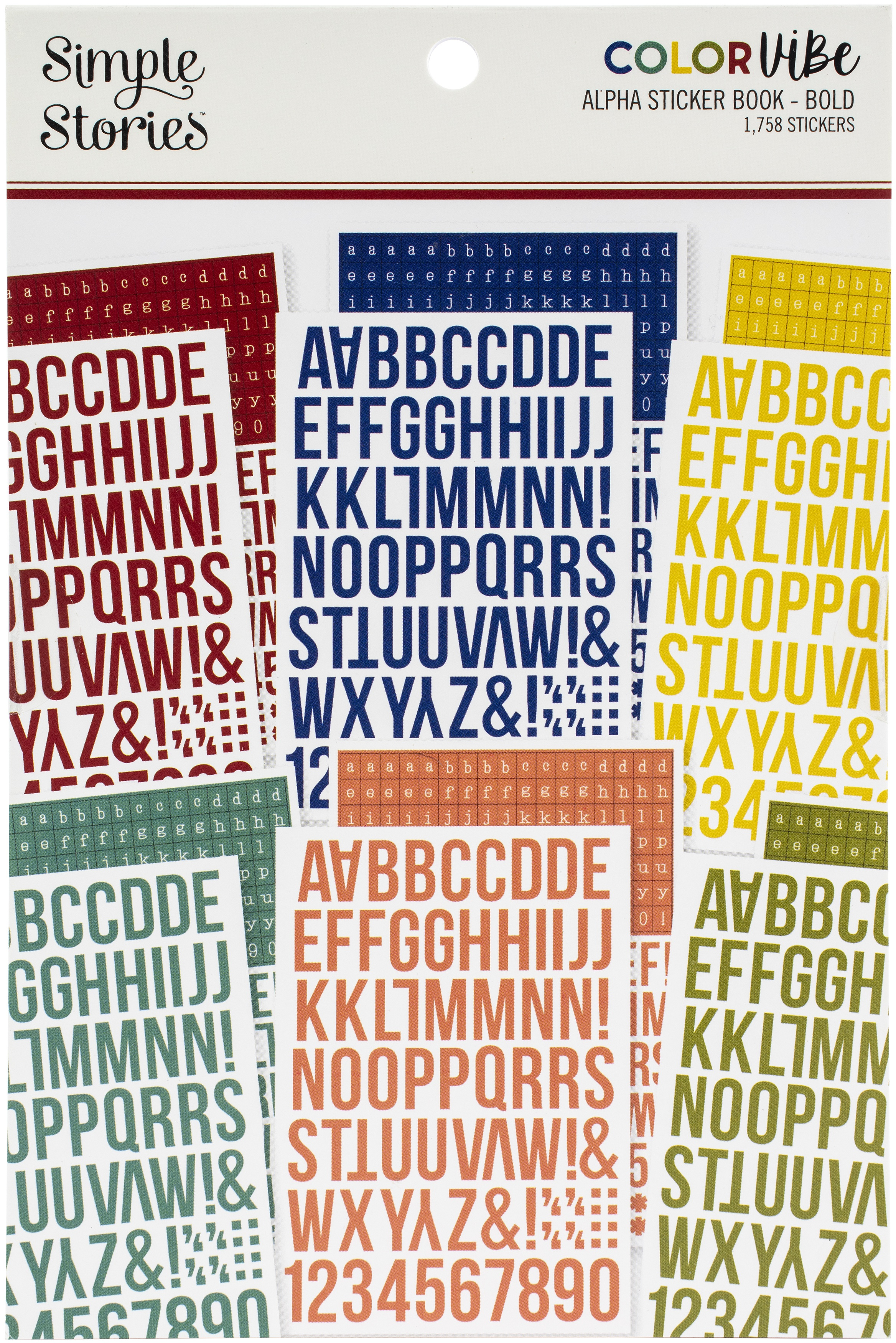 Simple Stories Color Vibe Alpha Sticker Book 12/Sheets-Bold, 1758/Pkg