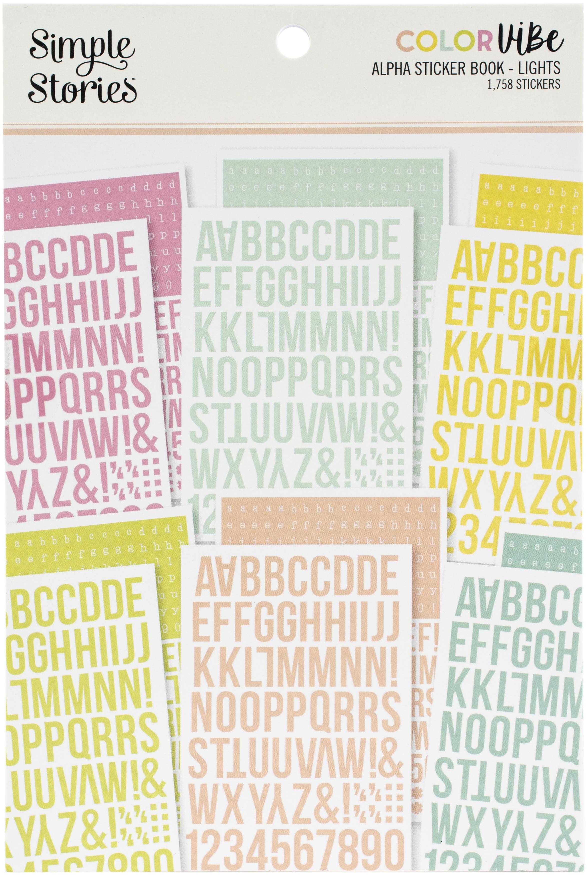 Simple Stories Color Vibe Alpha Sticker Book 12/Sheets-Lights, 1758/Pkg