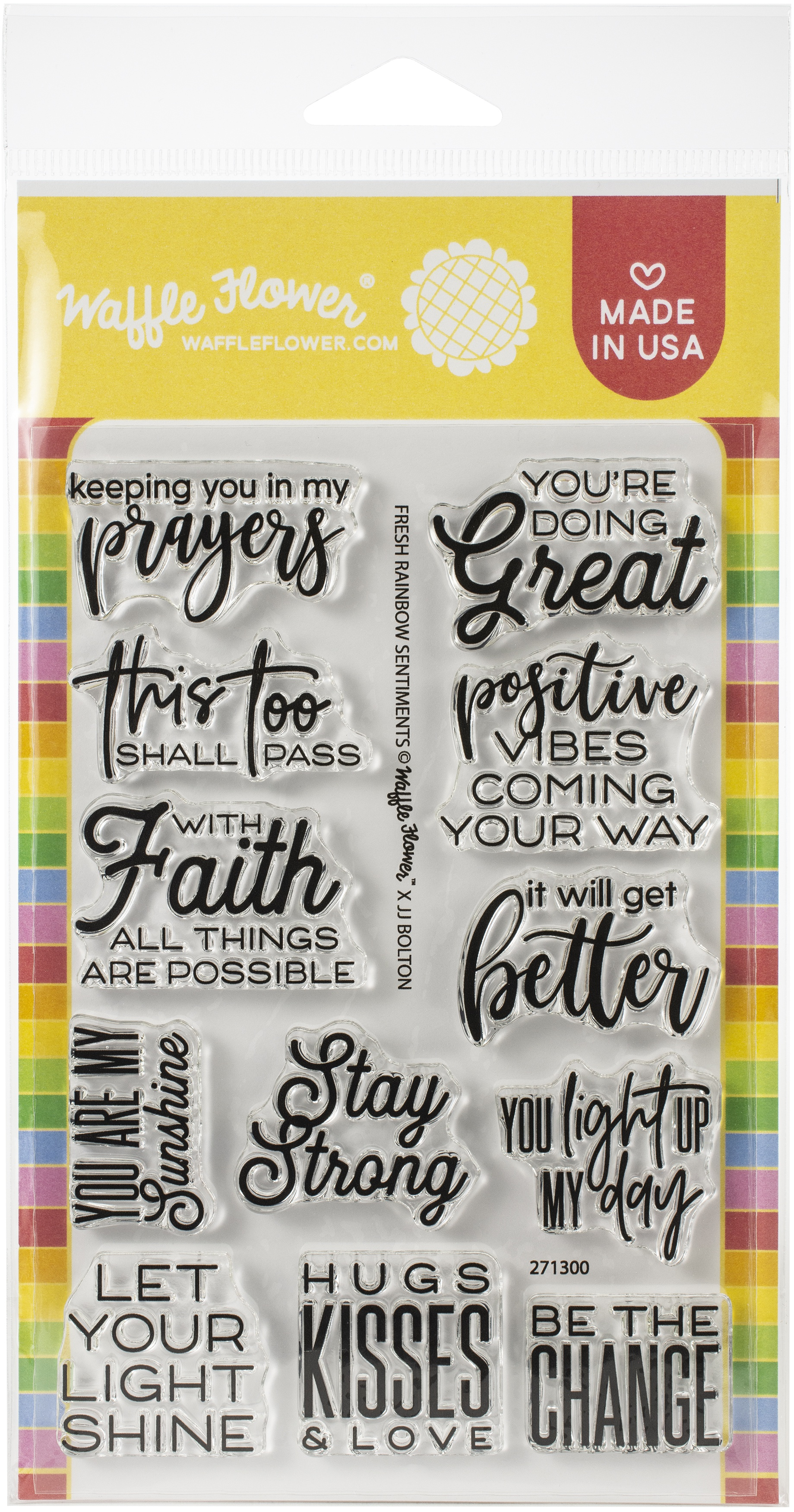 Waffle Flower Crafts Clear Stamps 4X6-Fresh Rainbow Sentiments
