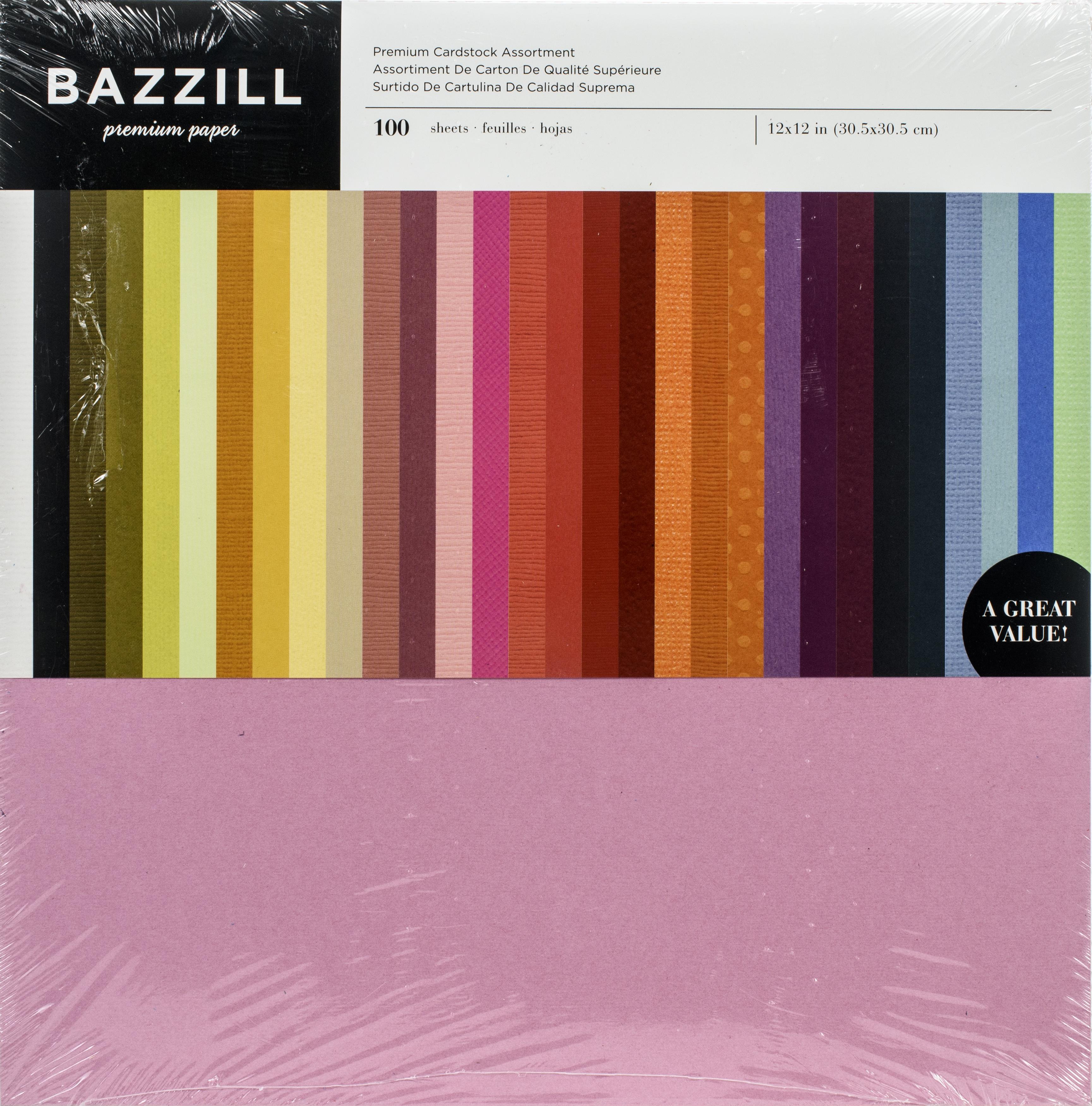 Bazzil Premium Cardstock Value Pack 12X12 100/Pkg-Assorted Colors