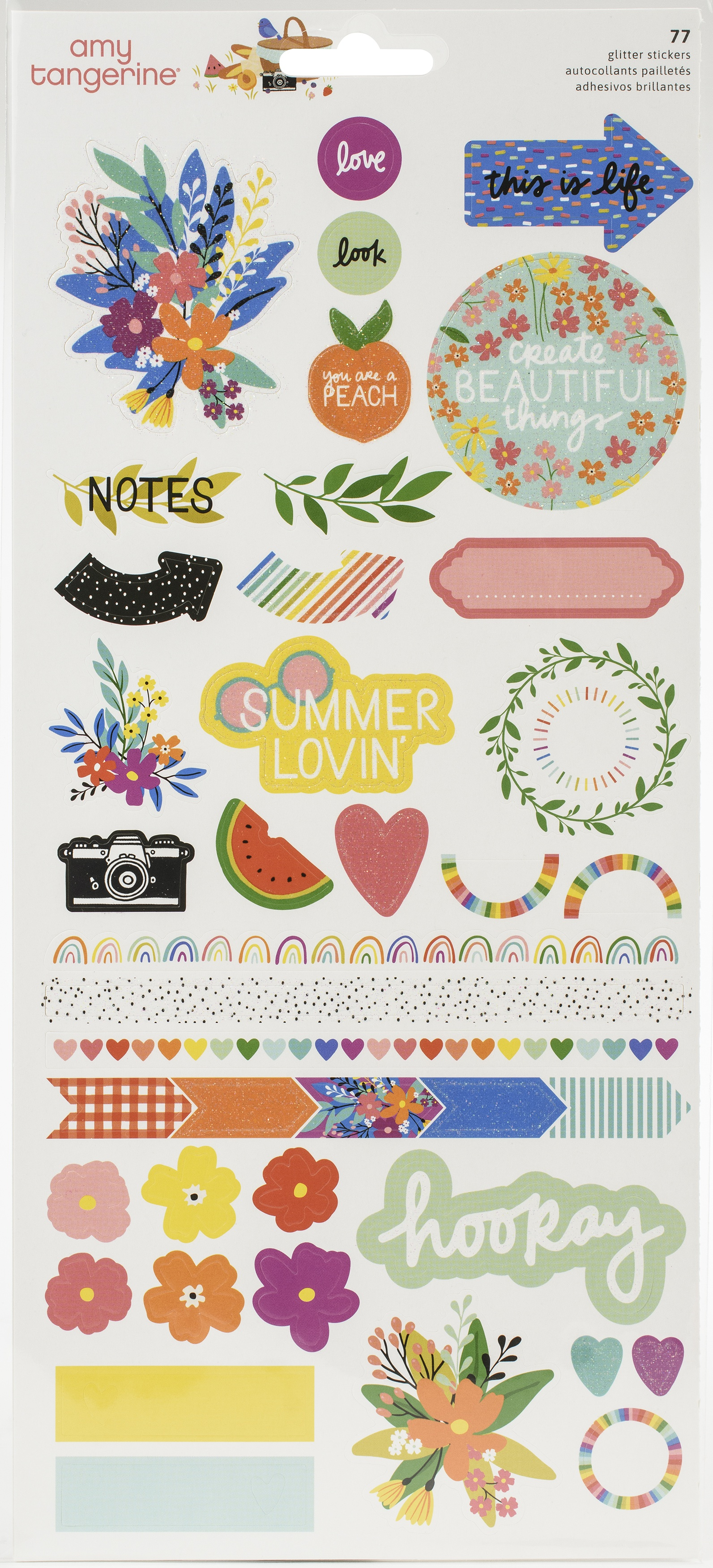 Amy Tan Picnic In The Park  stickers W/Glitter Accents